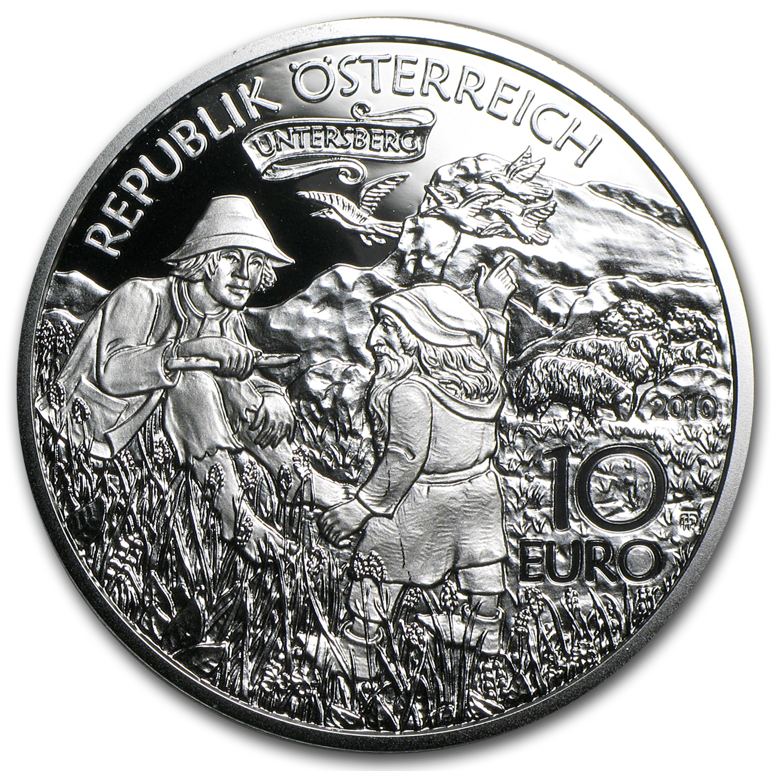2010 Silver Austrian 10 Euro Charlemagne in the Untersberg Proof