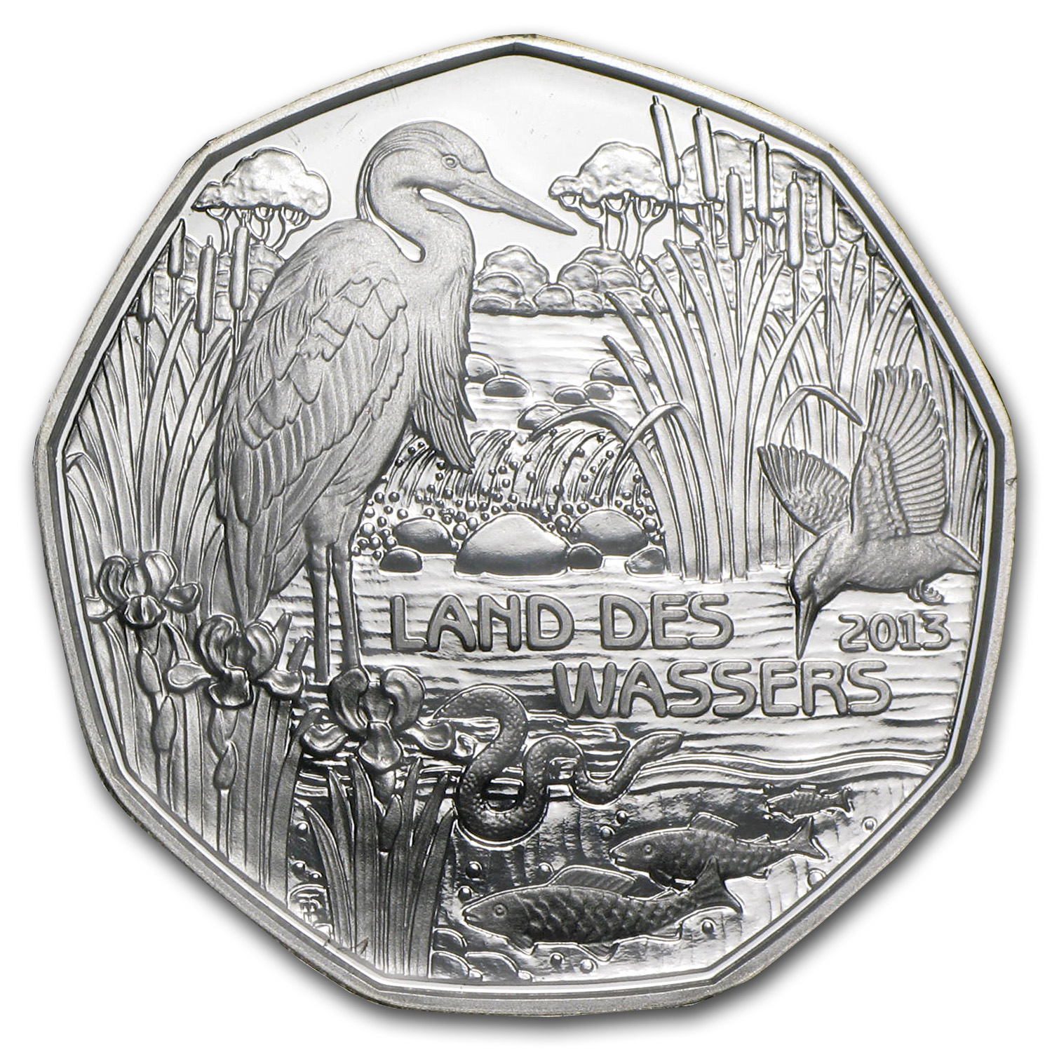 2013 Land of Water 5 Euro Silver Coin ASW 0.2058