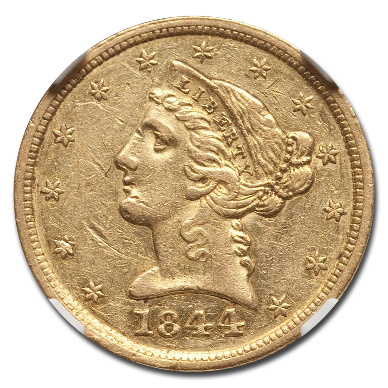 1844-D $5 Liberty Gold Half Eagle AU-53 NGC