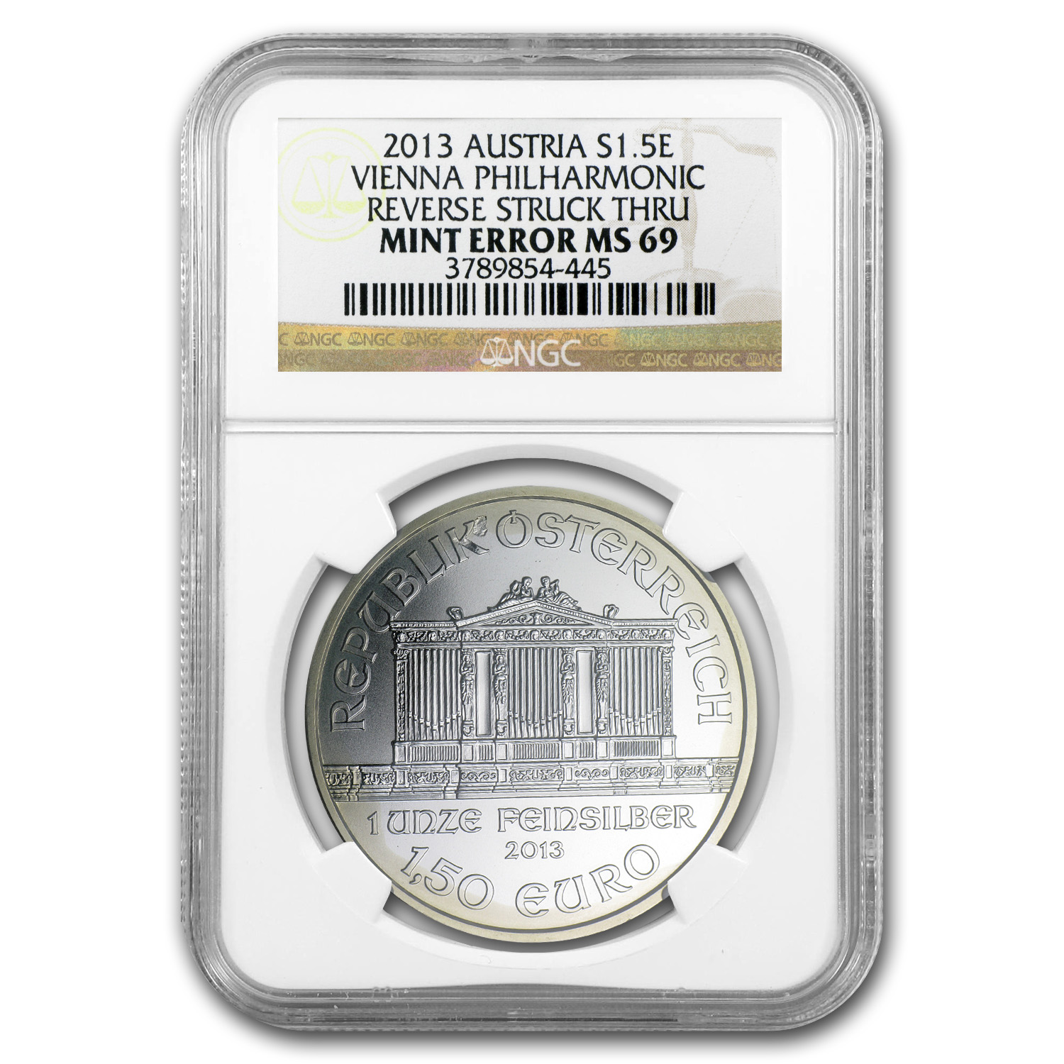 2013 1 oz Silver Austrian Philharmonic MS-69 NGC Mint Error