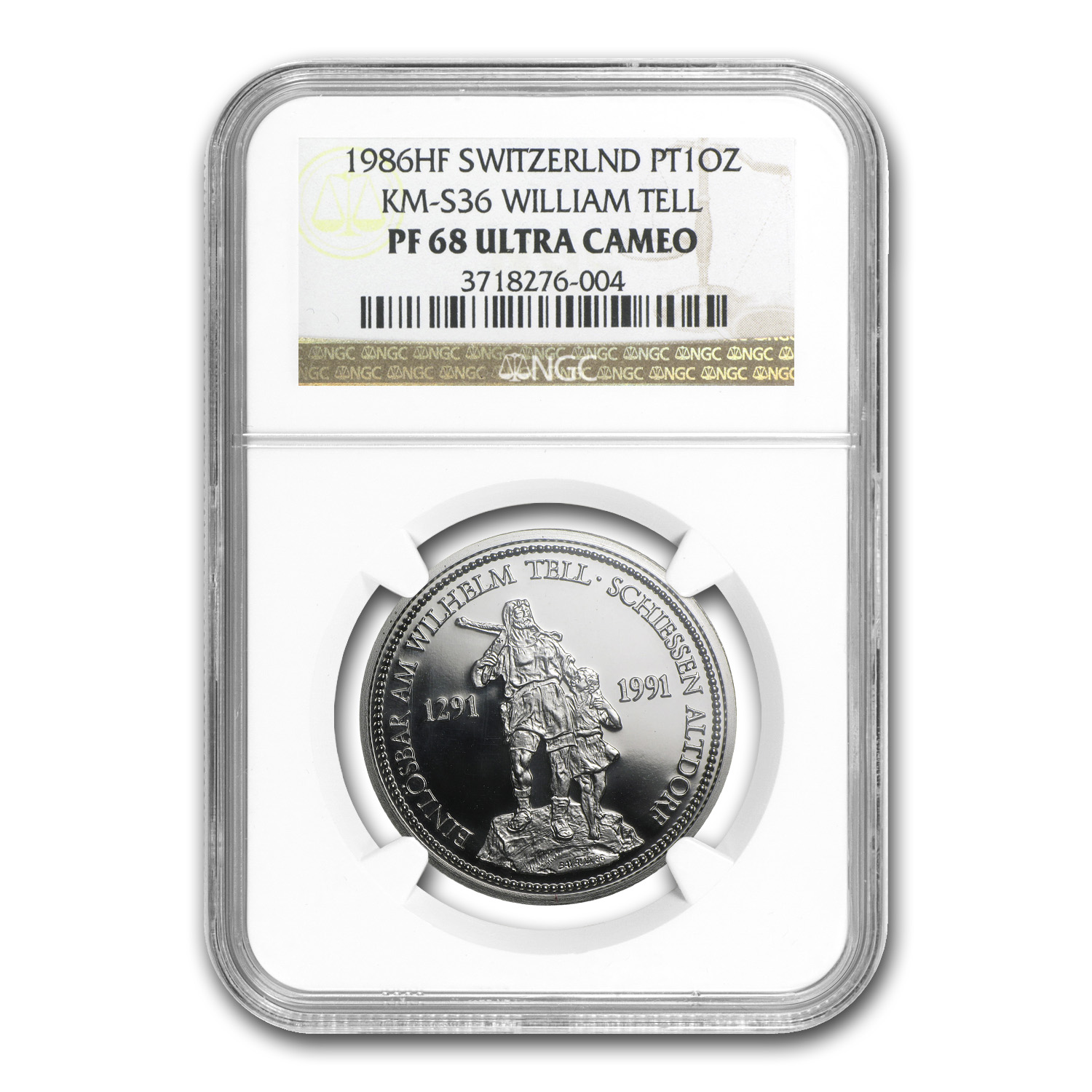 1986 Switzerland 1 oz Proof Platinum Shooting Thaler PF-68 NGC