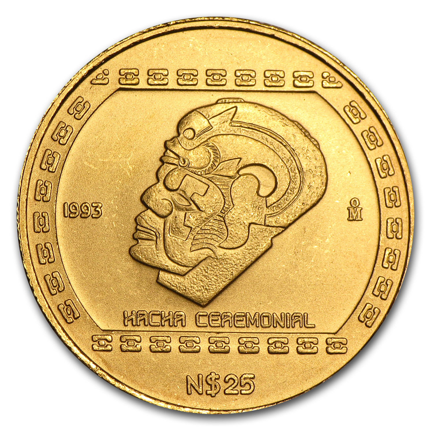 1993 Mexico Gold 25 Pesos Hacha Ceremonial BU