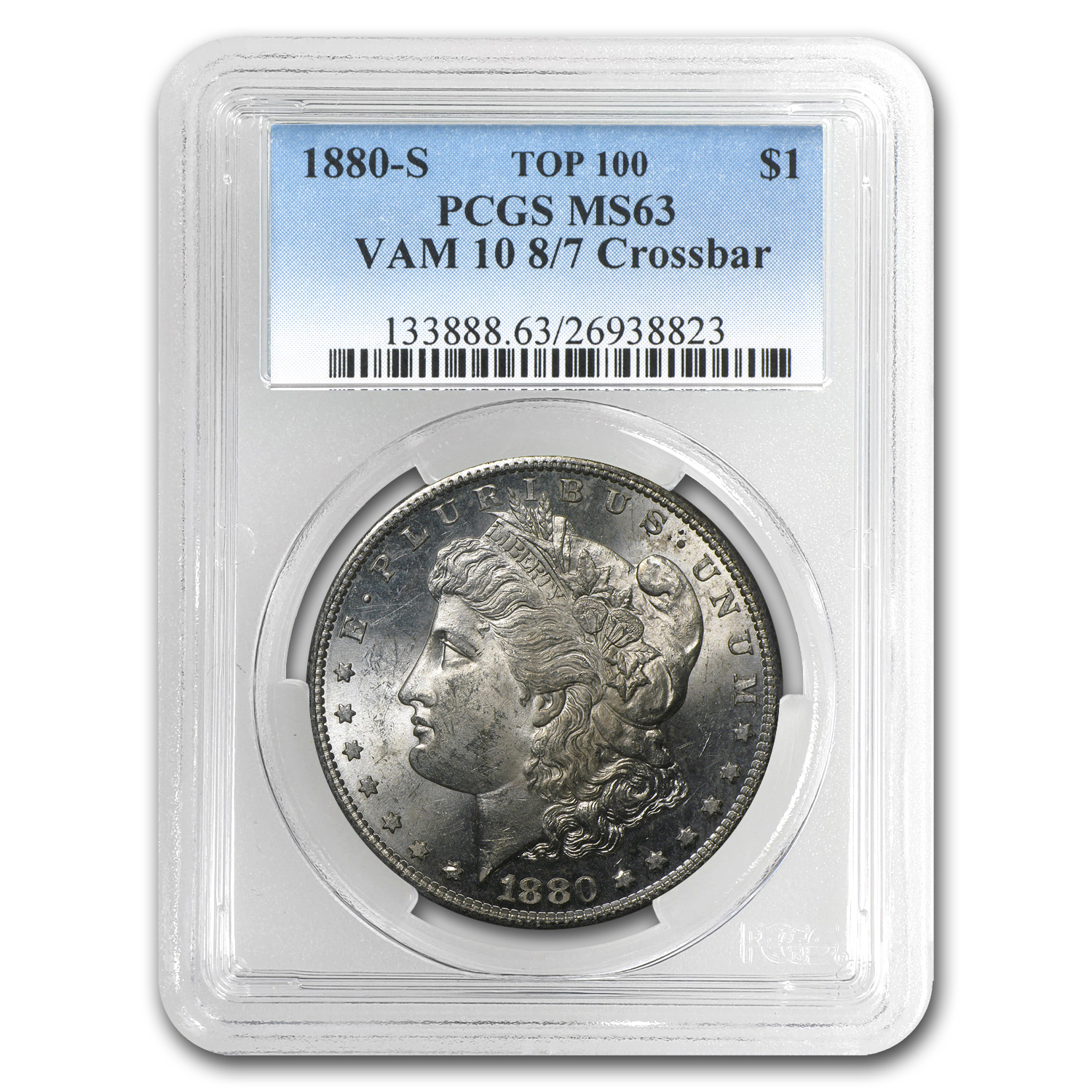 1880-S Morgan Dollar - MS-63 PCGS VAM-10 8 over 7 Top-100