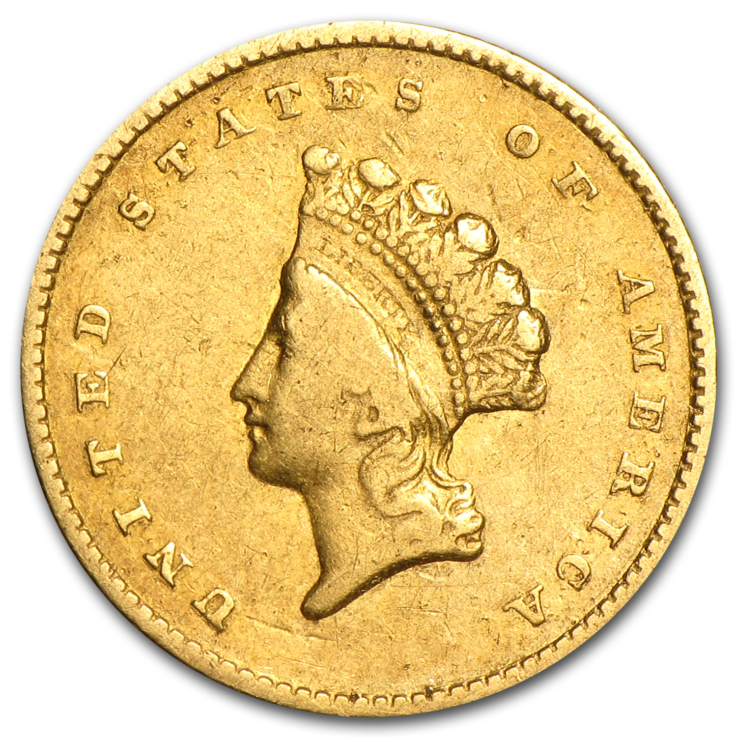 1855 $1 Indian Head Gold VF