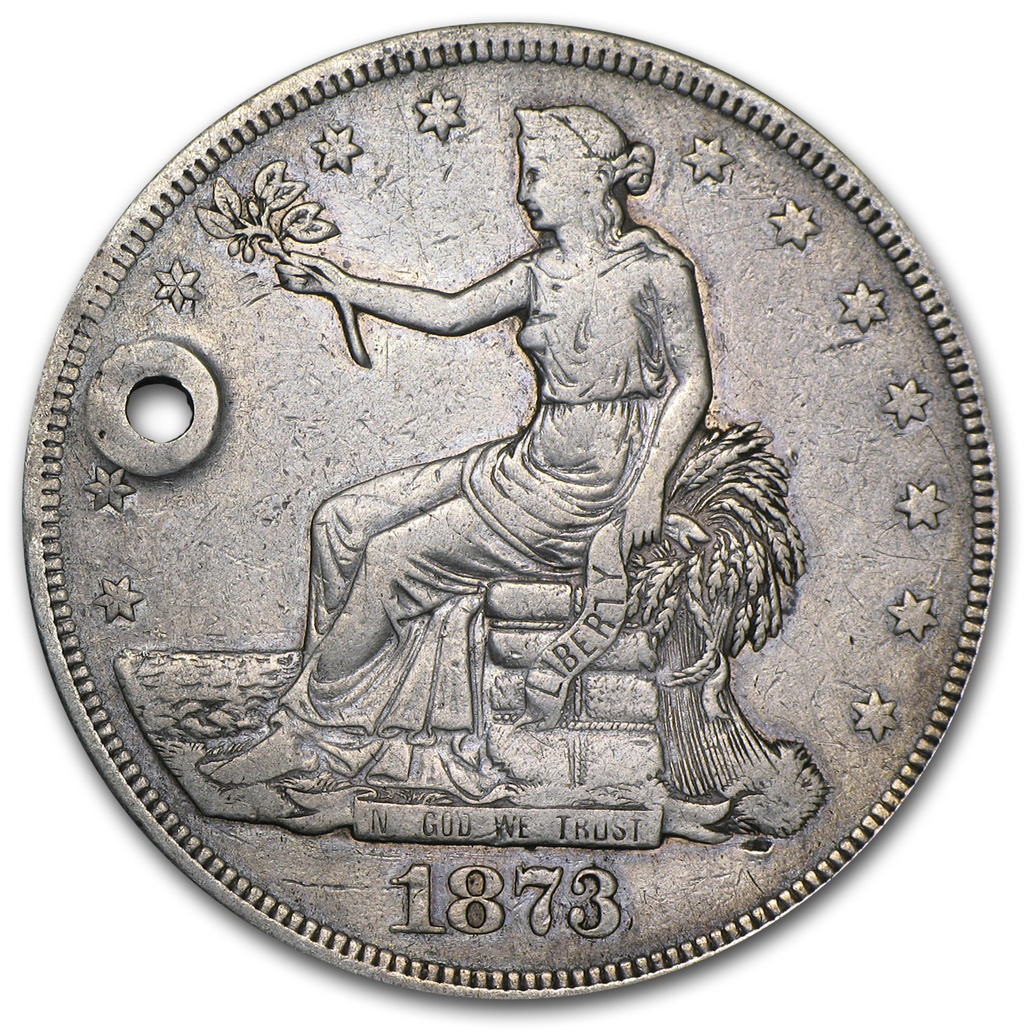 1873-CC Trade Dollar - Very Fine Details - Holed