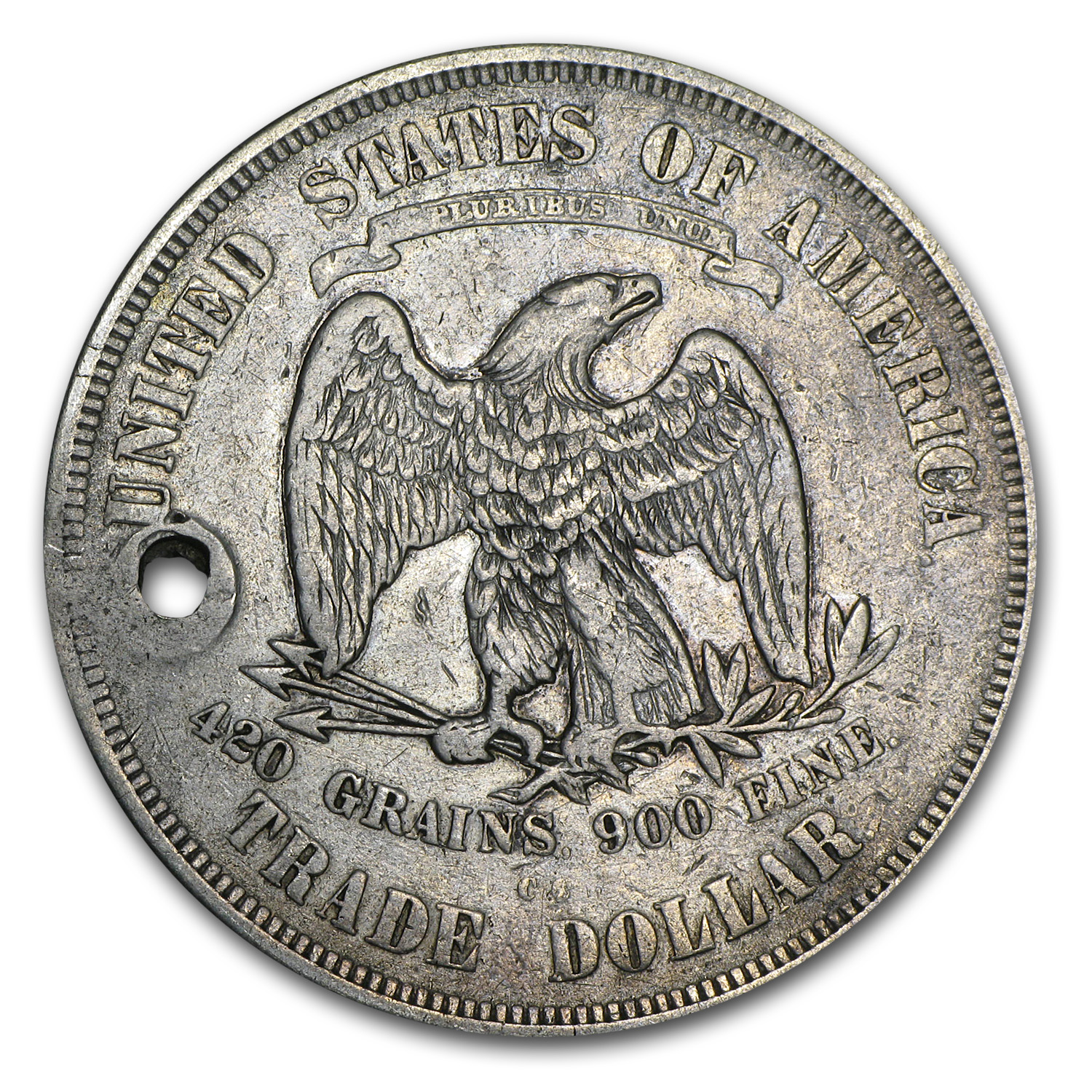 1873-CC Trade Dollar VF Details (Holed)