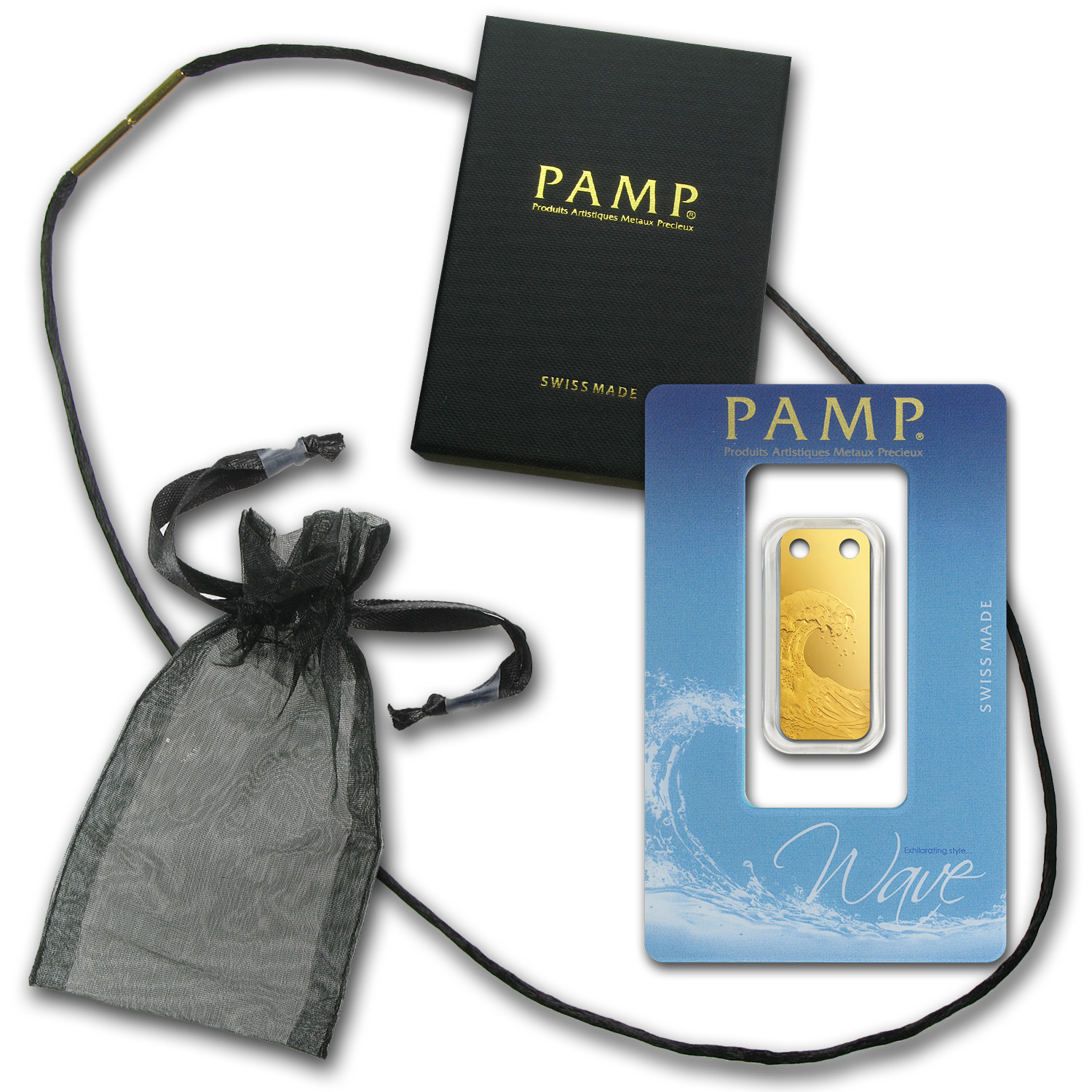 1/5 oz Gold Pendants - Pamp Suisse Ingot (Wave, Proof)