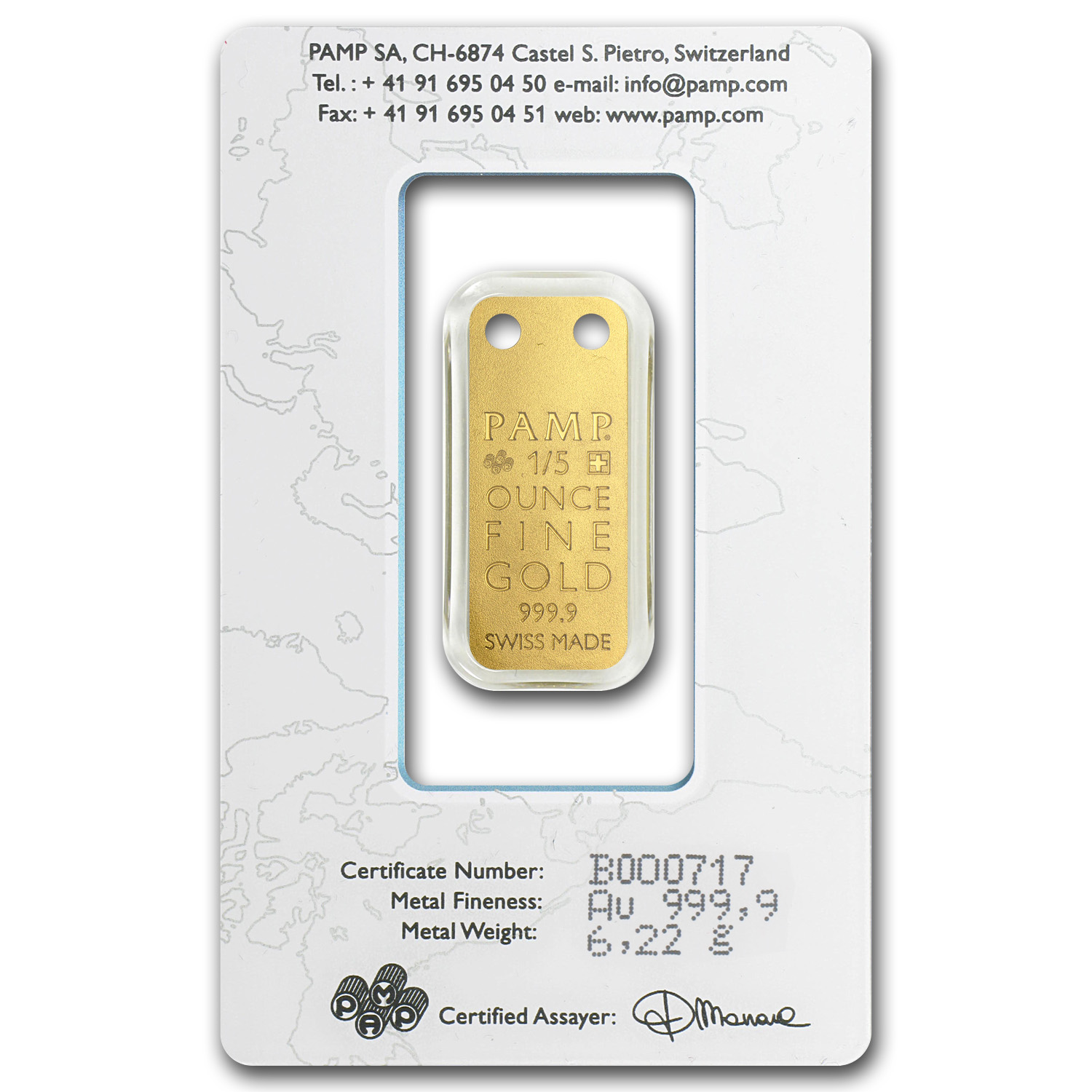 1/5 oz Gold Pendants - Pamp Suisse Ingot (Nautilus, Proof)