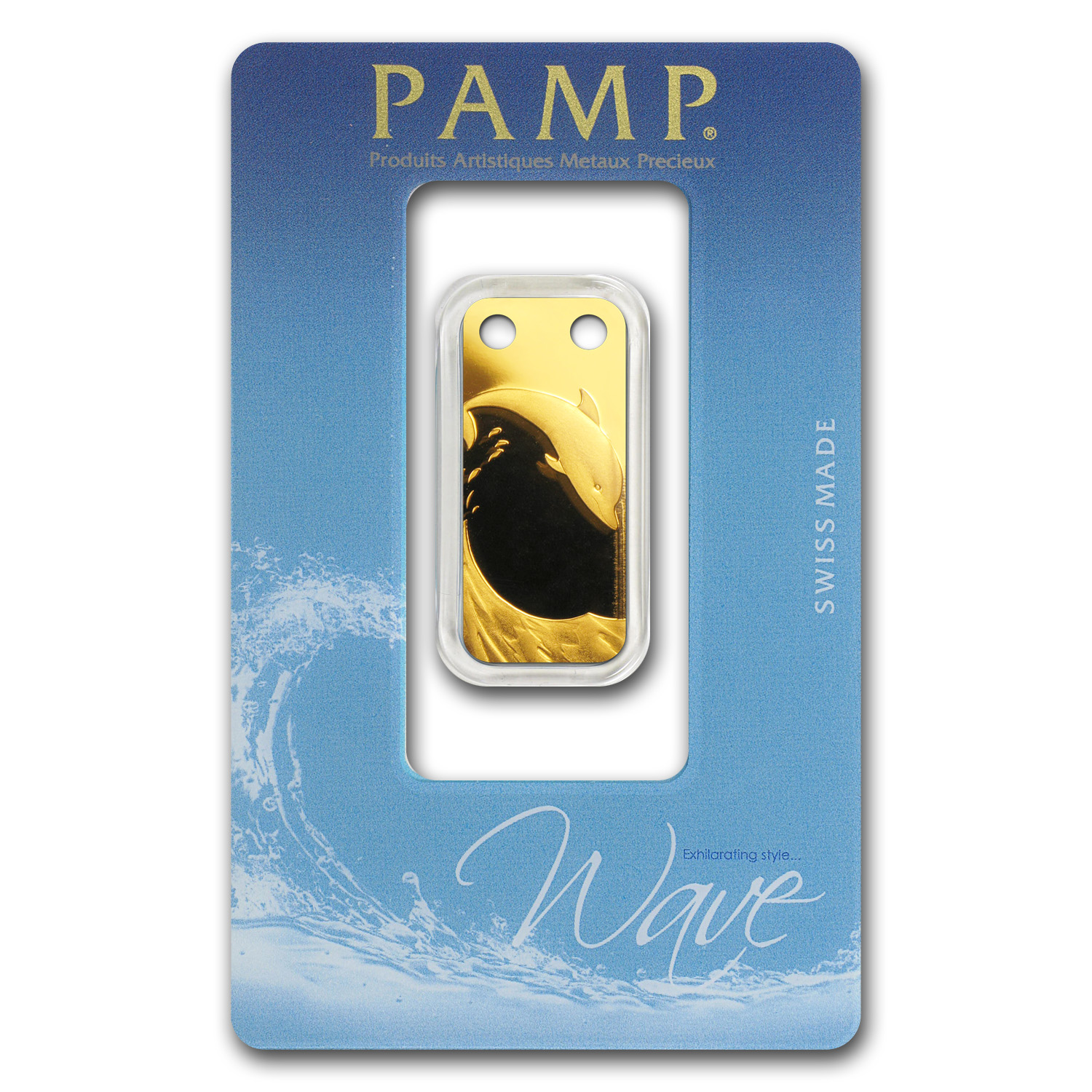 1/5 oz Gold Pendant - Pamp Suisse Ingot (Dolphin, Proof)