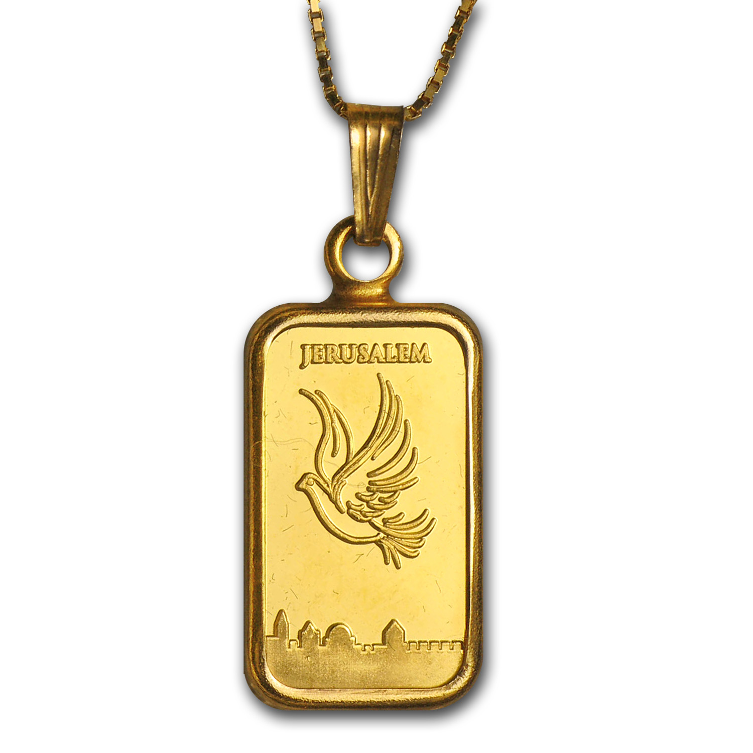 1 Gram Gold Bar Dove of Peace Necklace (AGW .05417 oz)