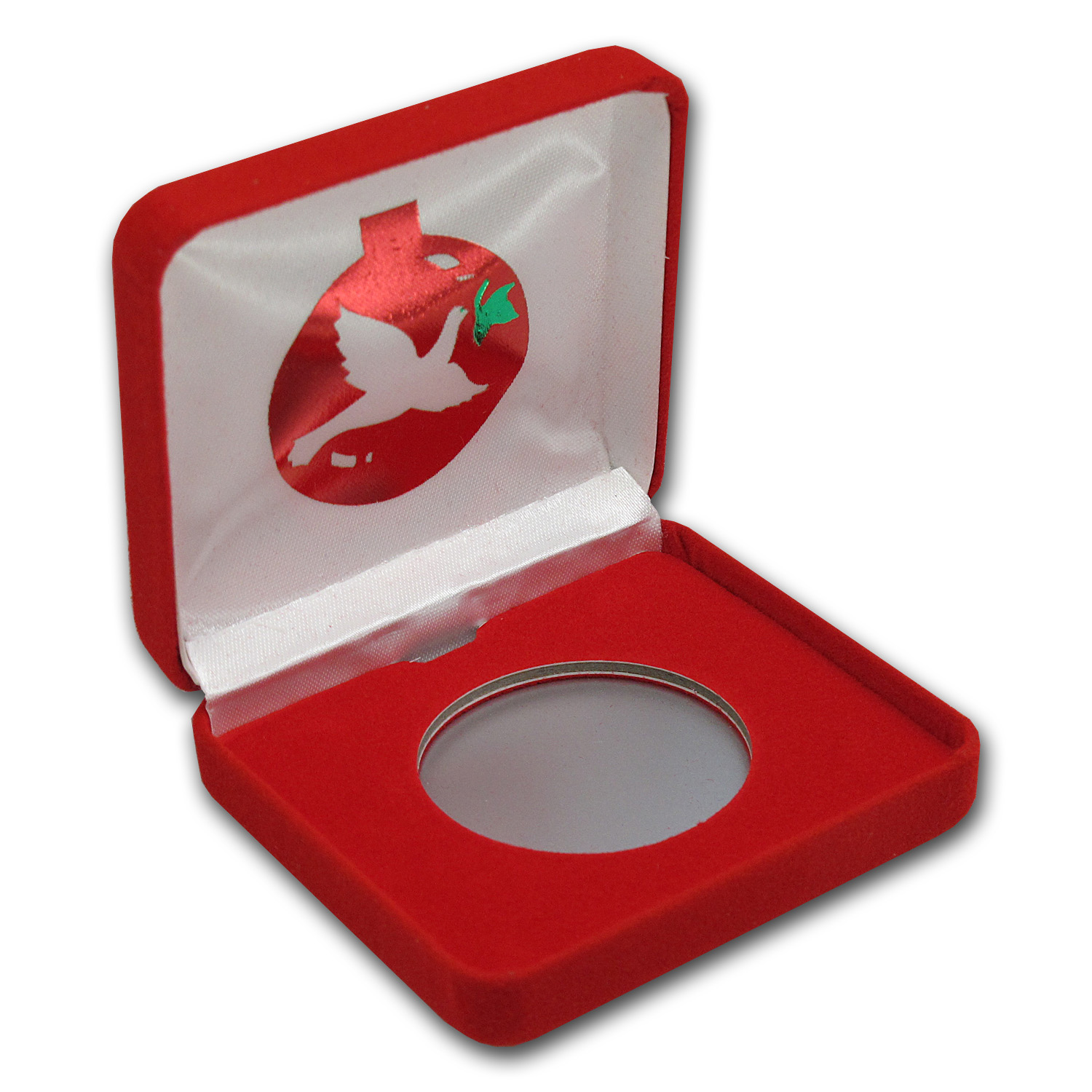 Red Velour Gift Box for Silver Rounds - Dove