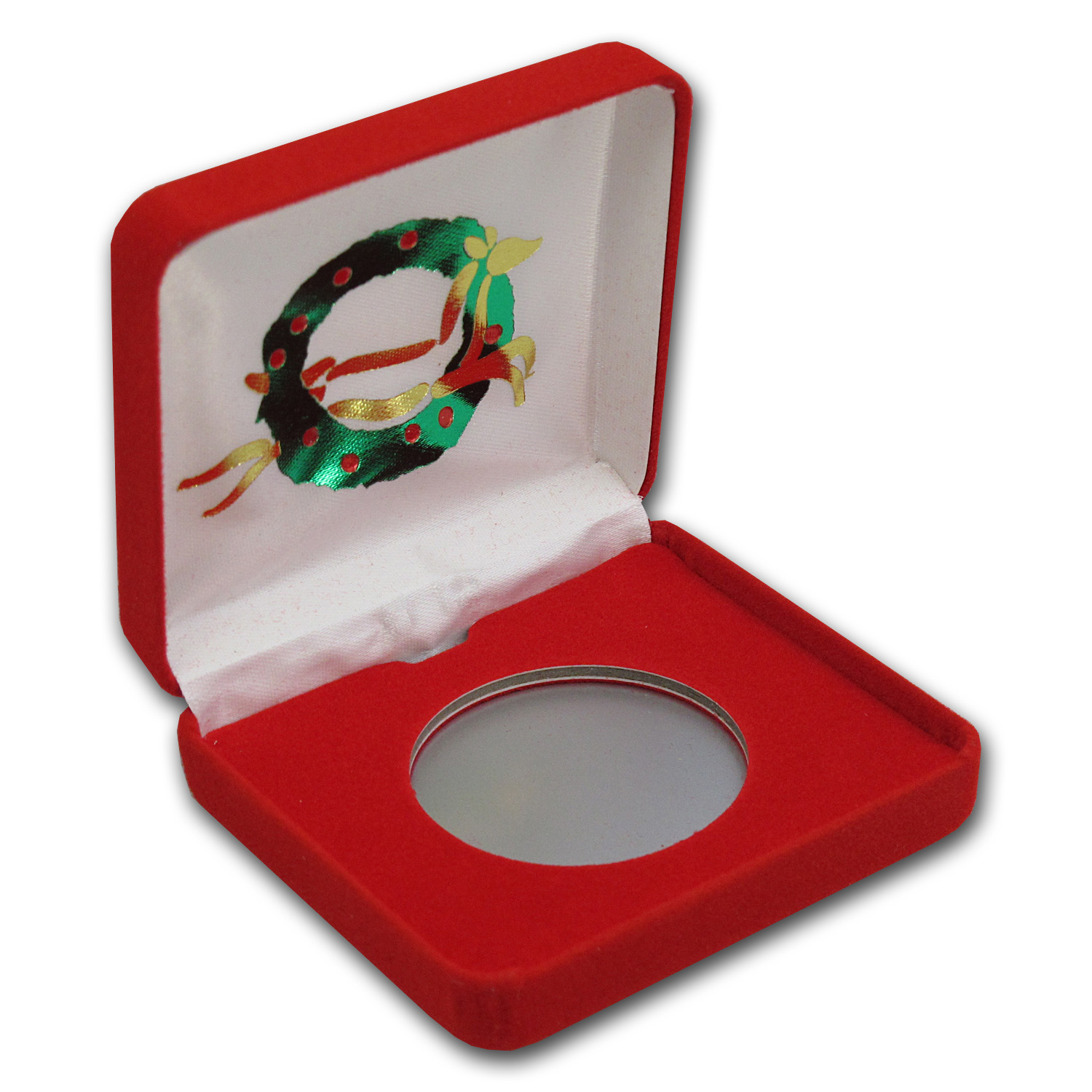 Red Velour Gift Box for Silver Rounds - Reindeer Wreath