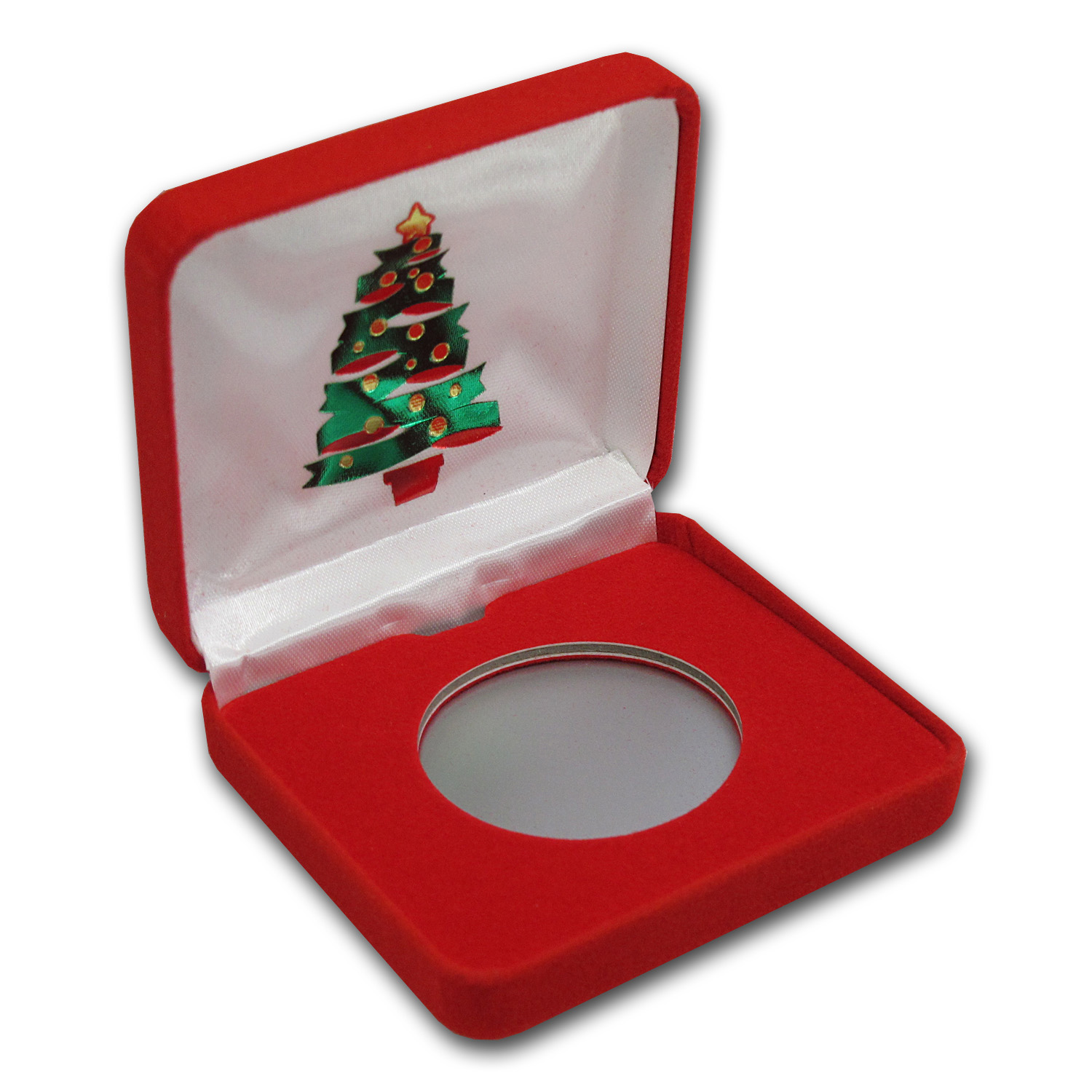Red Velour Gift Box for Silver Rounds - Christmas Tree