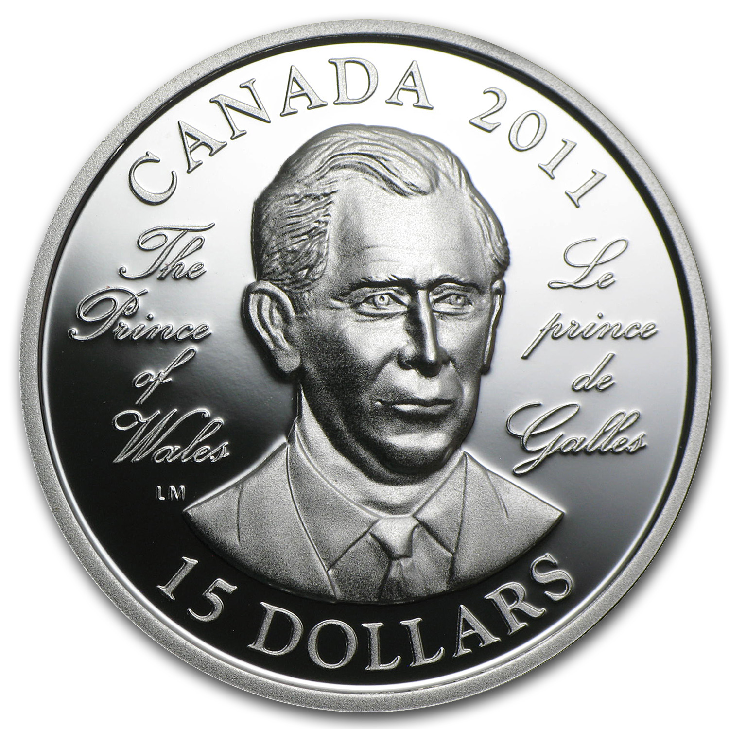 2011 Silver Canadian $15 The Prince of Wales (UHR)