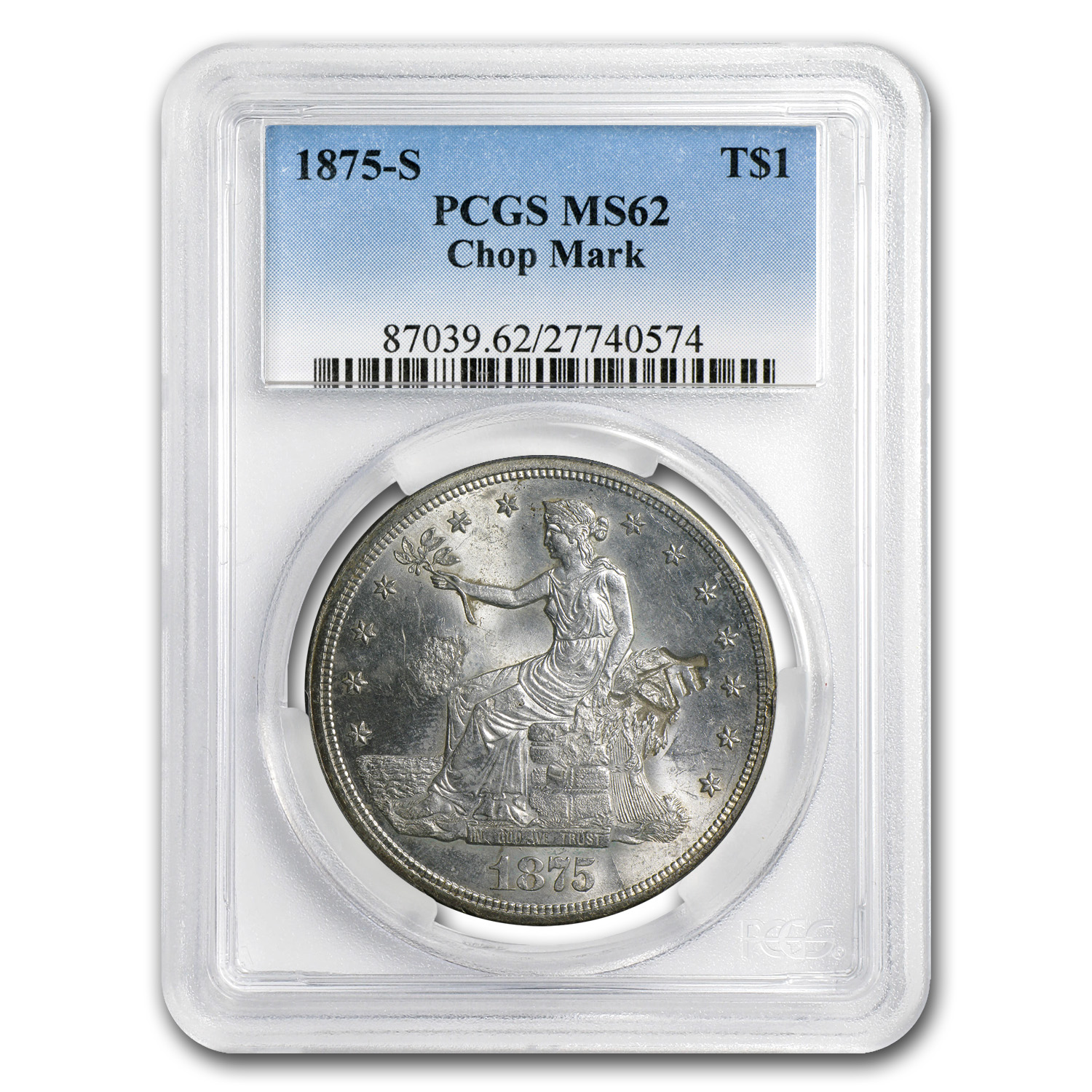 1875-S Trade Dollar - MS-62 PCGS - Chopmarks
