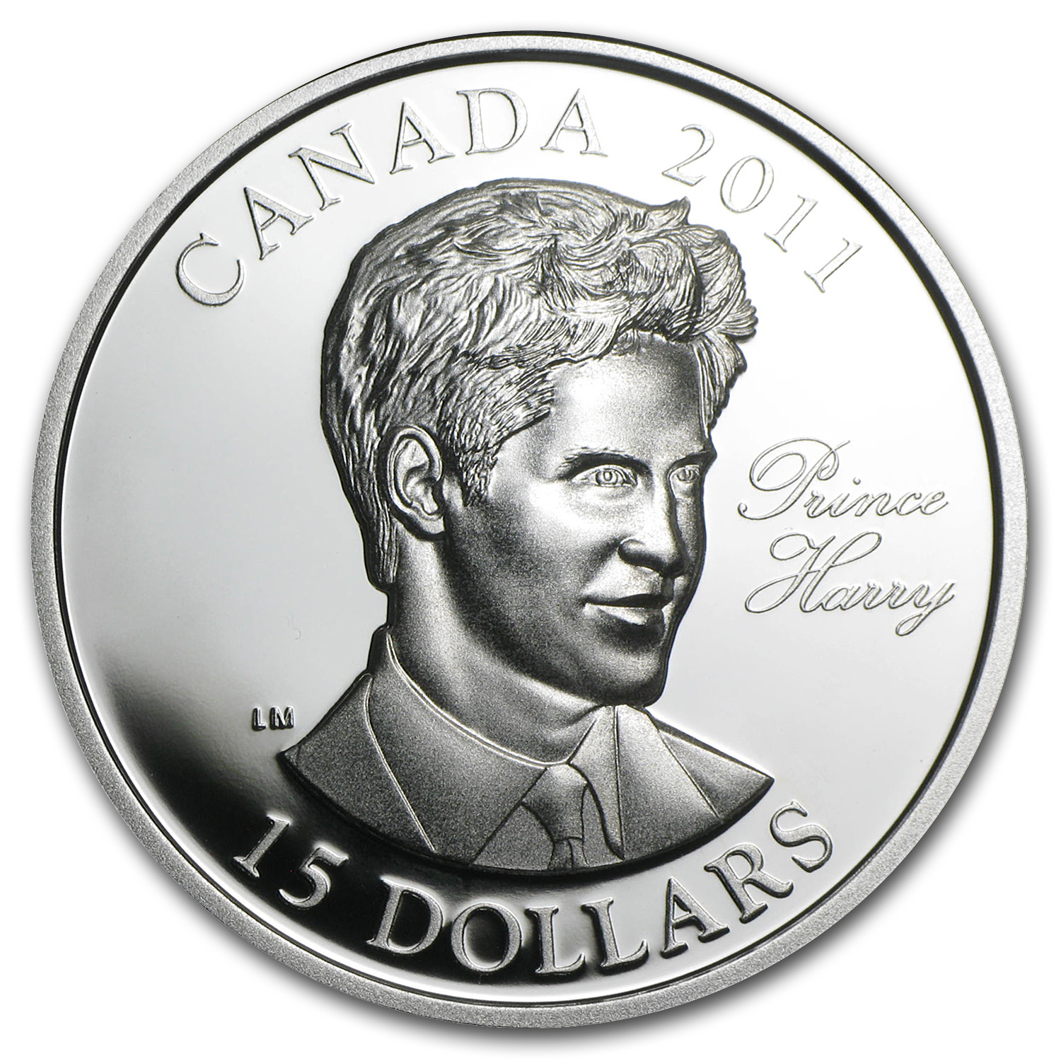 2011 Ultra-High Relief Silver Canadian $15 -Prince Harry of Wales