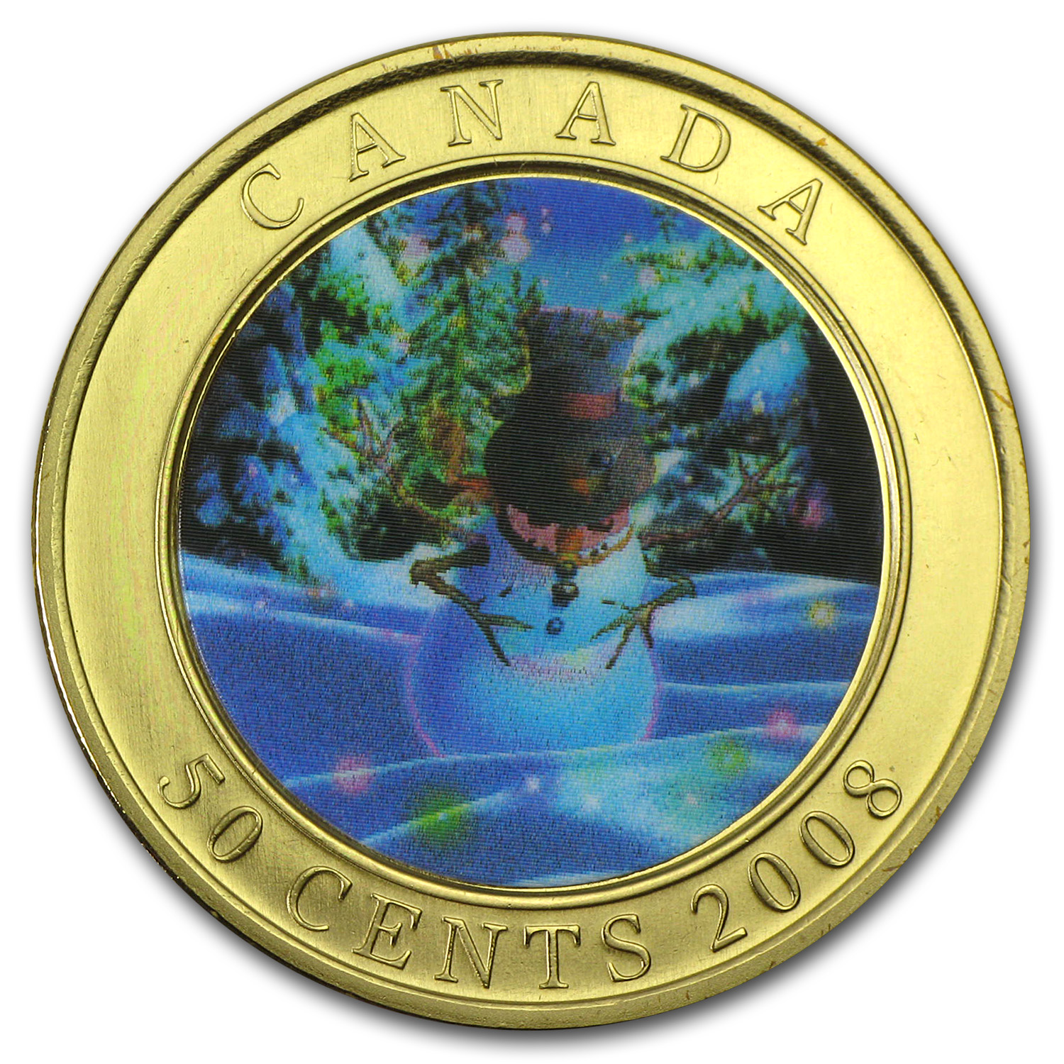 2008 Canadian $0.50 Christmas Lenticular Coin - Holiday Snowman