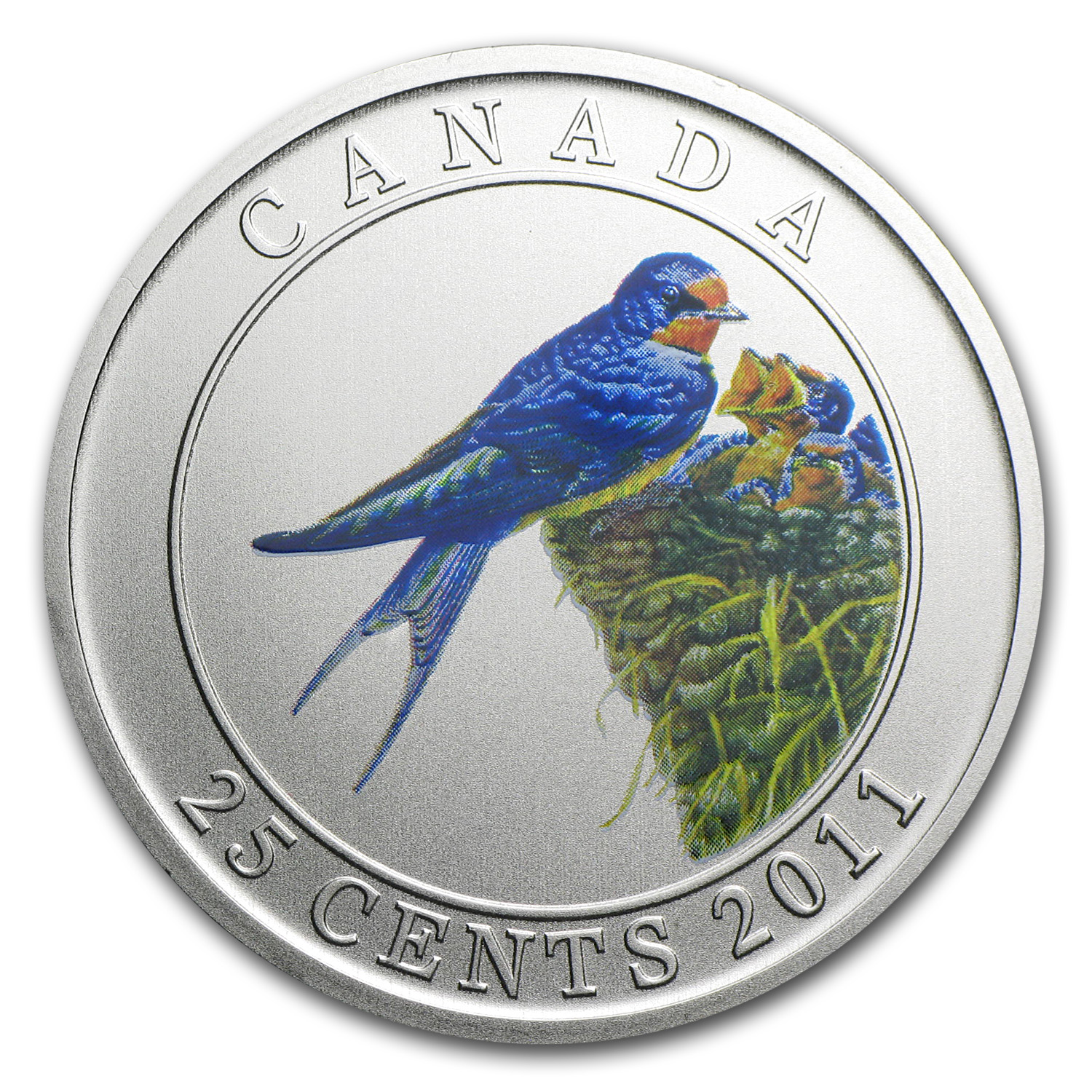 2011 RCM Birds of Canada $0.25 Barn Swallow (Coloured)