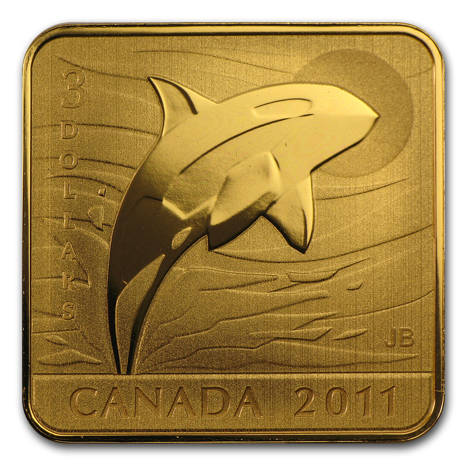 2011 Silver Canadian Wildlife Conservation Orca Whale (Gilded)