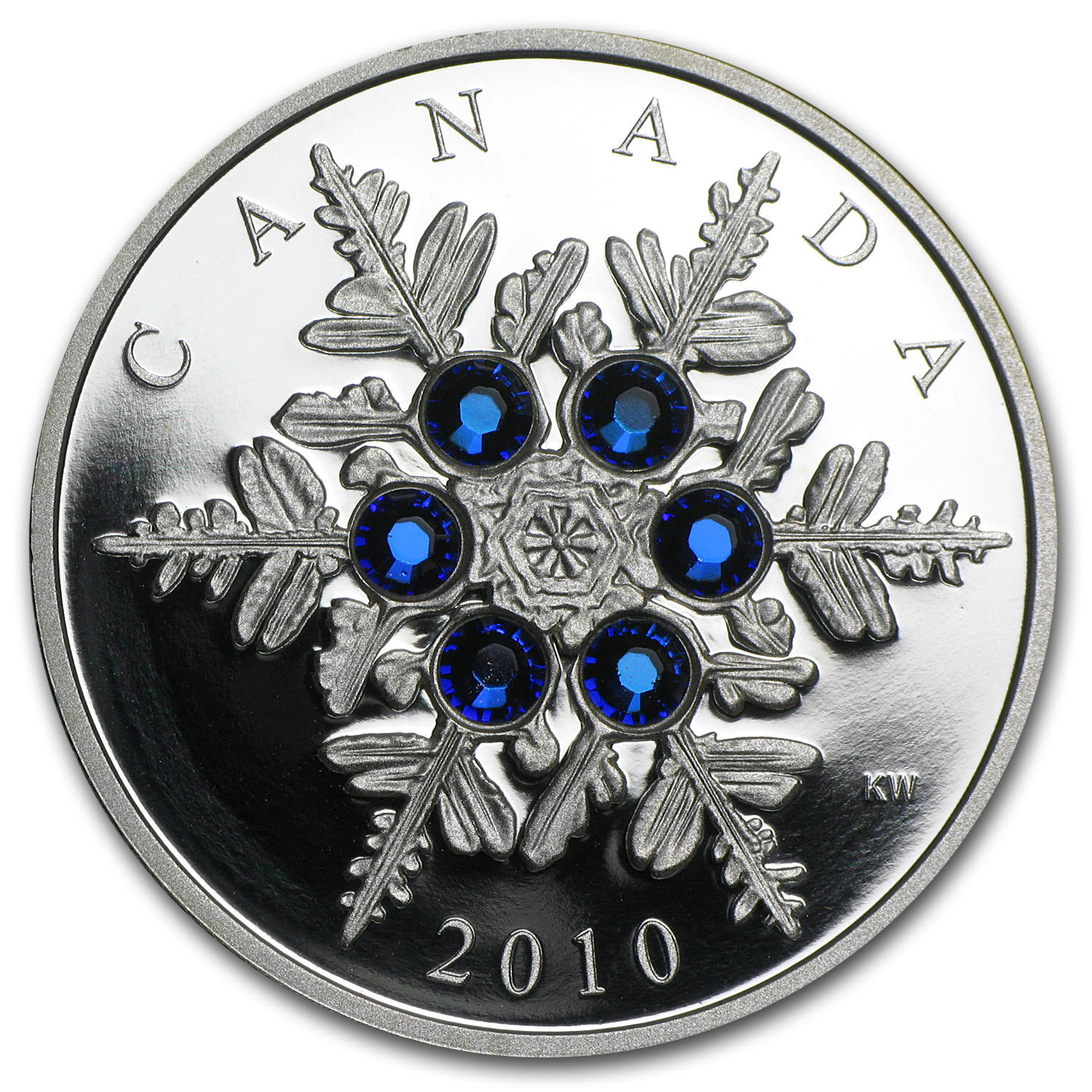 2010 1 oz Silver Canadian $20 Crystal Snowflake - Blue