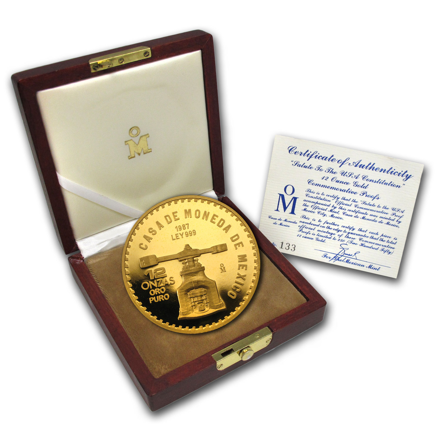 1987 Mexico 12 oz Proof Gold Medal US Constitution (w/Box & CoA)