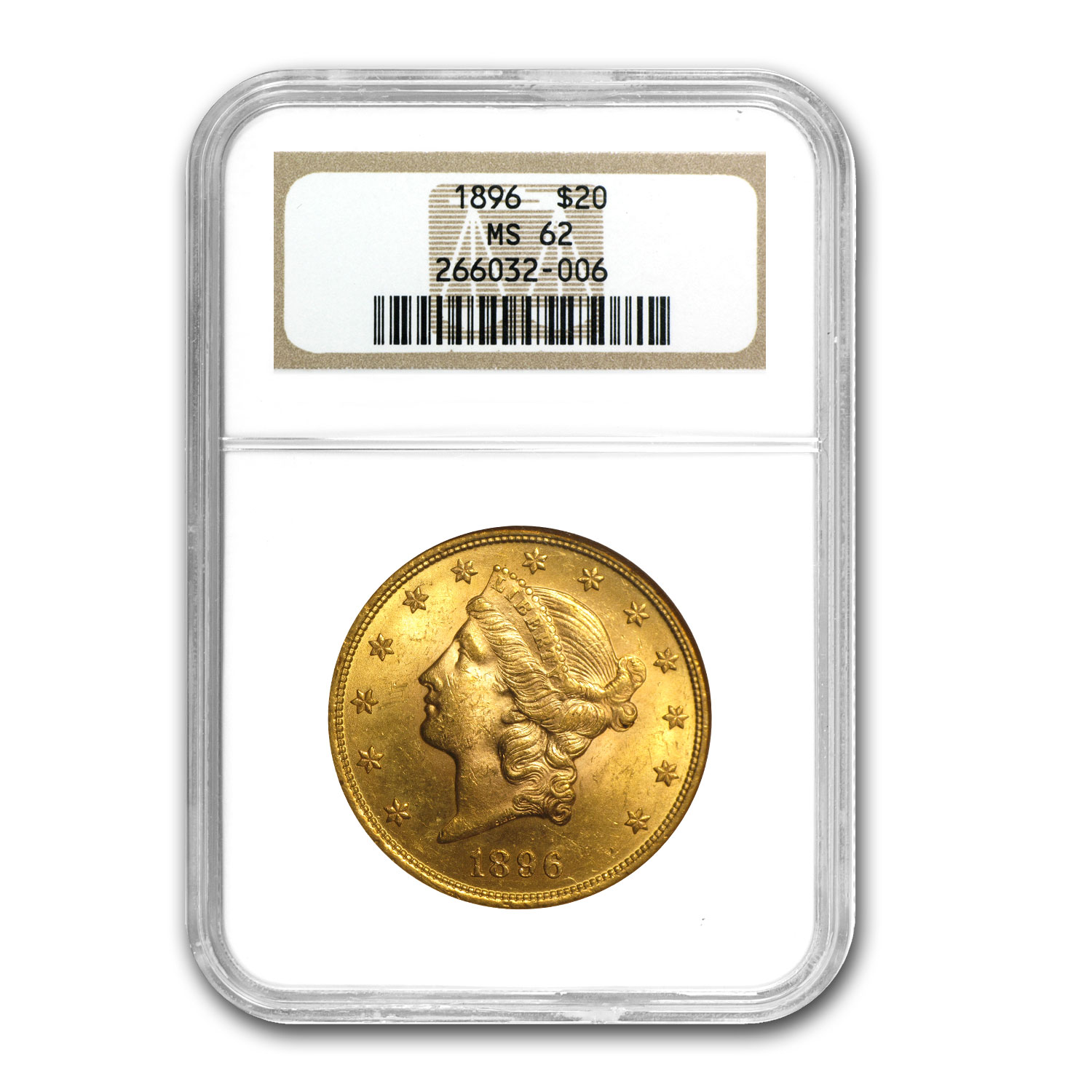 1896 $20 Liberty Gold Double Eagle MS-62 NGC (FS-301 RPD)