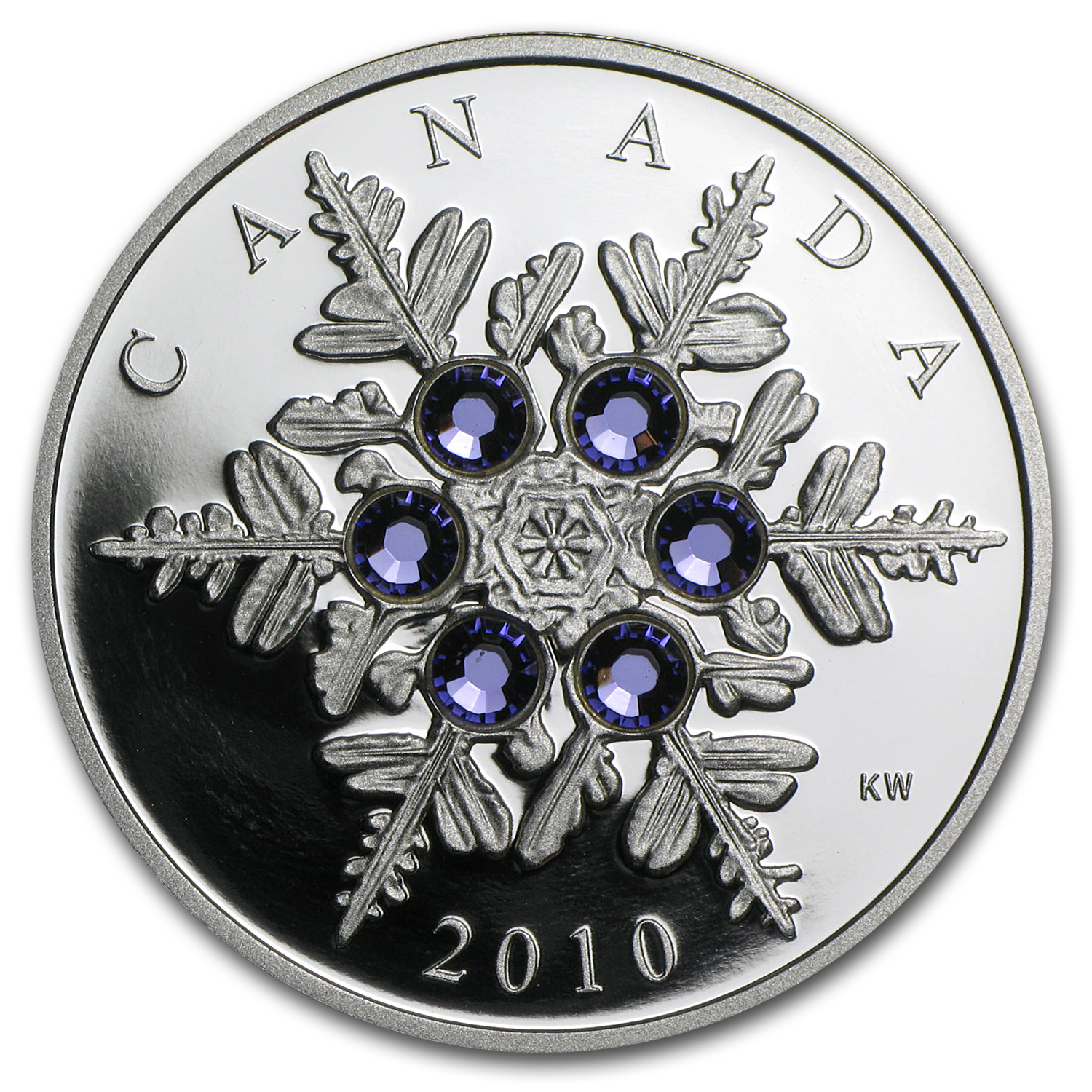 2010 1 oz Silver Canadian $20 Crystal Snowflake - Tanzanite