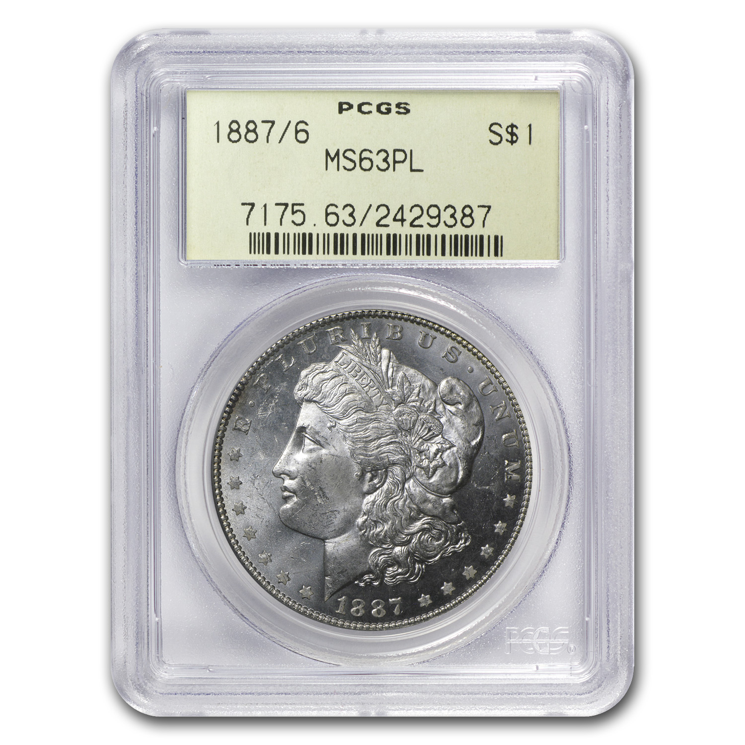 1887/6 Morgan Dollar MS-63 PL PCGS