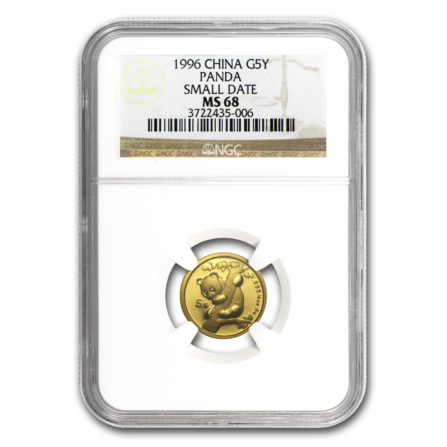 1996 (1/20 oz) Gold Chinese Pandas - MS-68 NGC Small Date