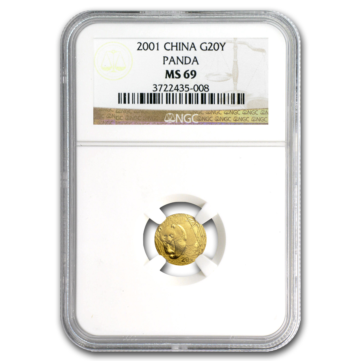 2001 China 1/20 oz Gold Panda MS-69 NGC
