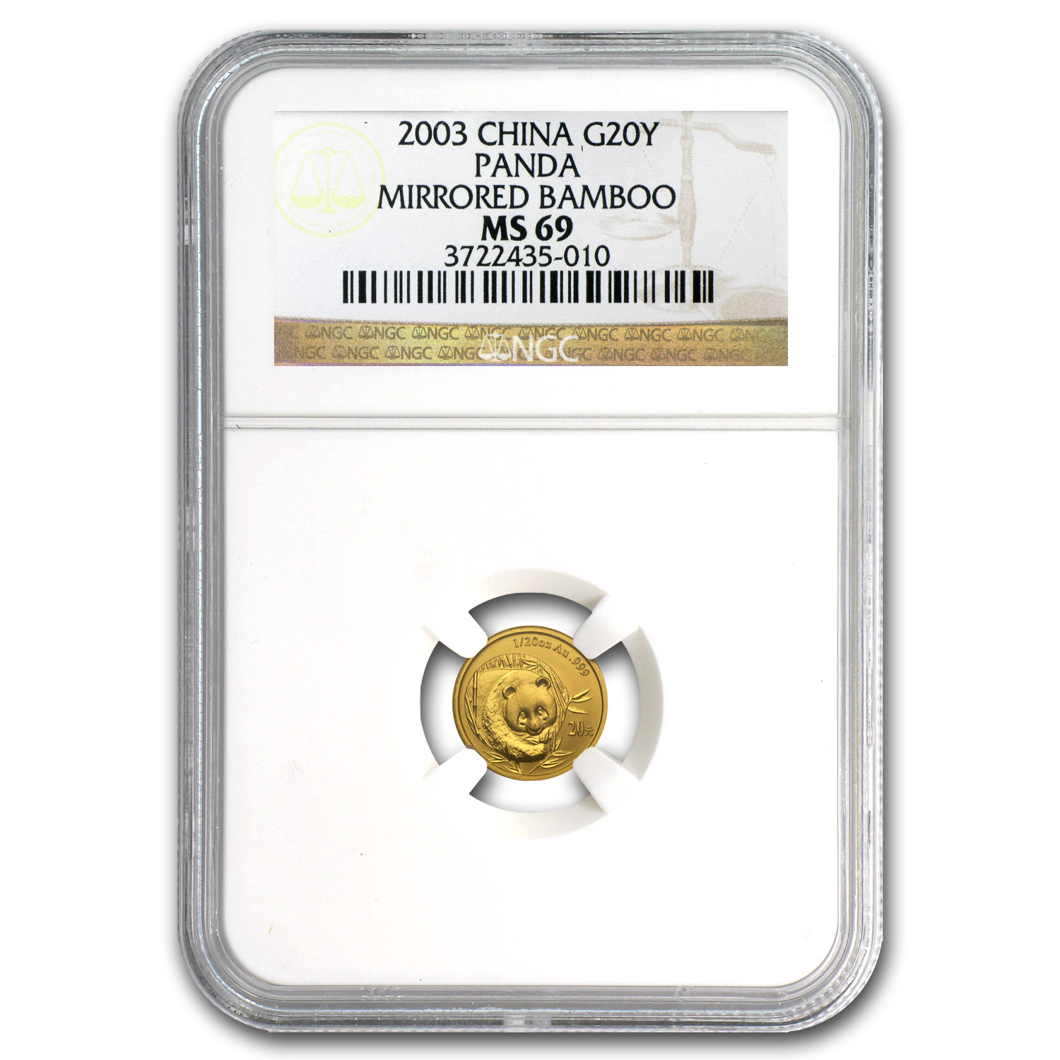 2003 China 1/20 oz Gold Panda Mirrored Bamboo MS-69 NGC