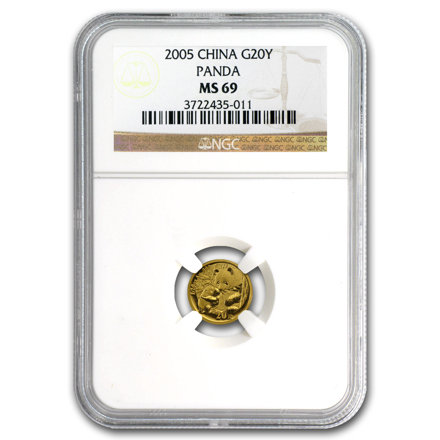 2005 China 1/20 oz Gold Panda MS-69 NGC