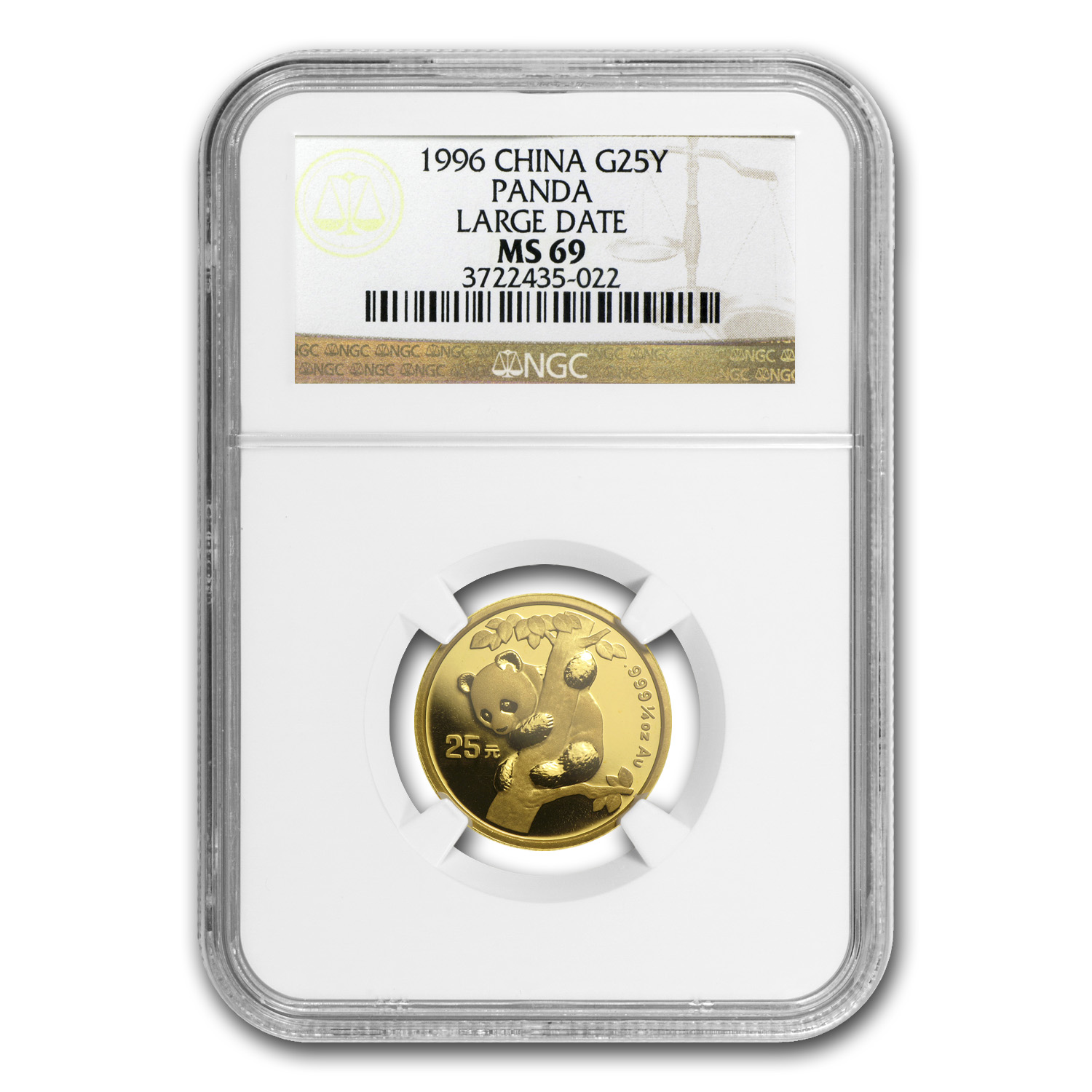 1996 China 1/4 oz Gold Panda Large Date MS-69 NGC