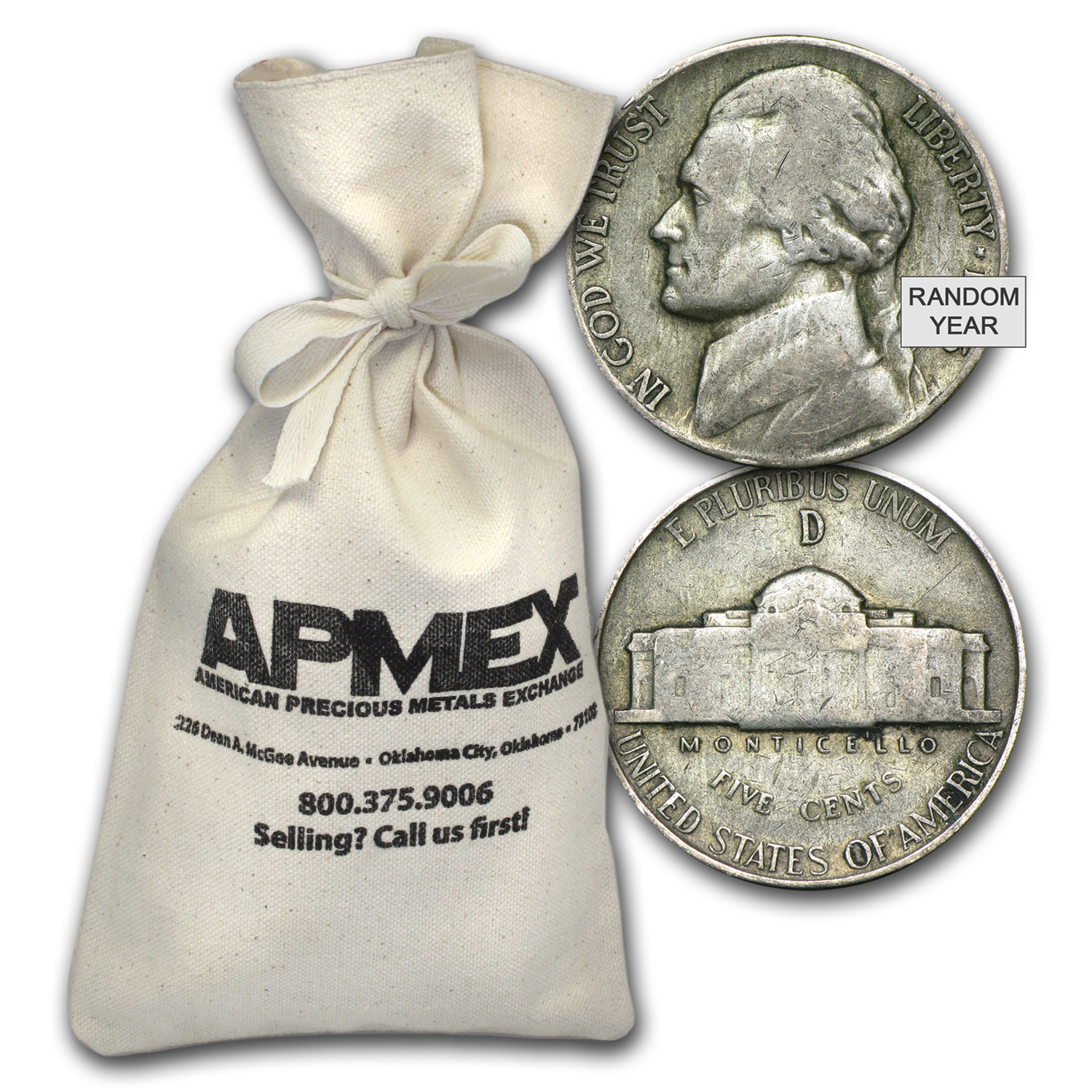 35% Silver War Nickels $200 Face-Value Bag