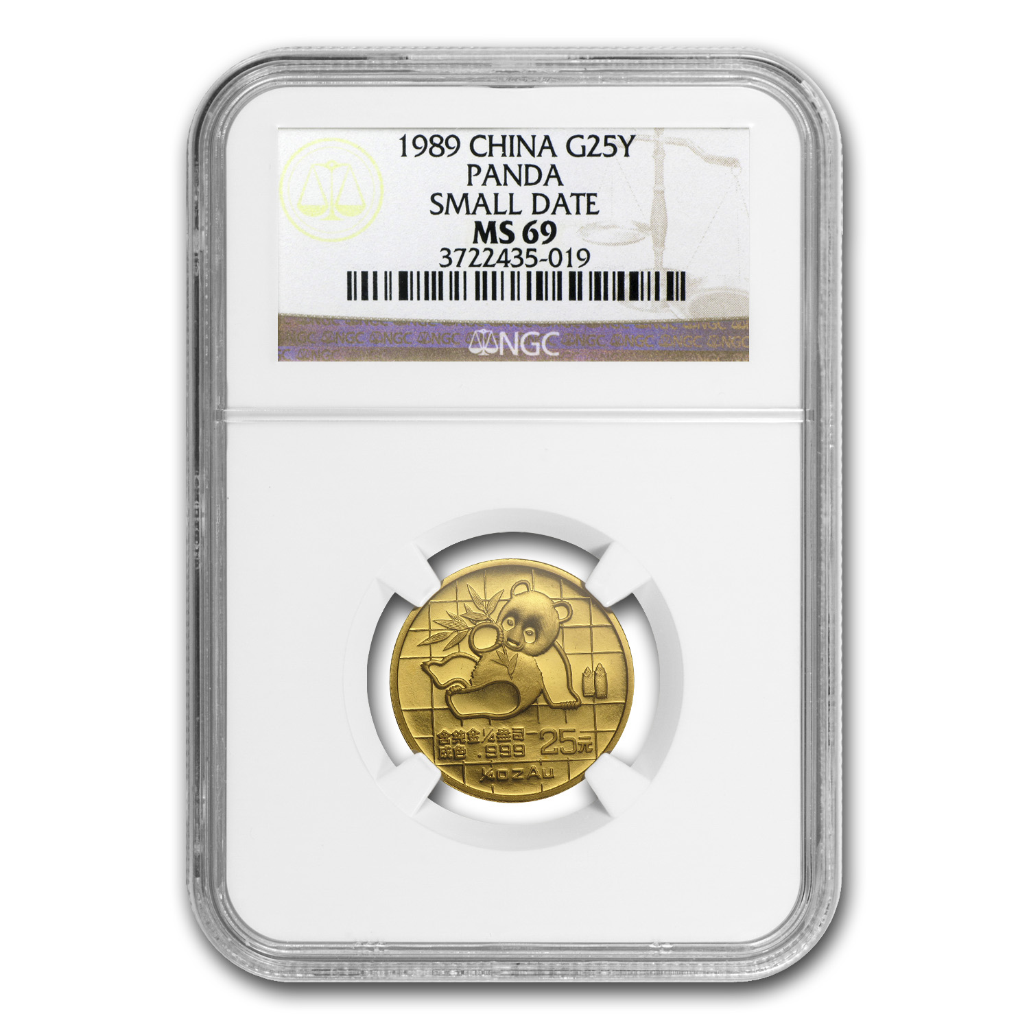 1989 China 1/4 oz Gold Panda Small Date MS-69 NGC