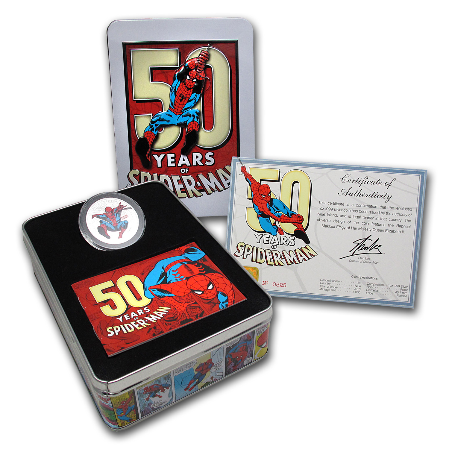 2013 Niue 1 oz Silver 50 Years of Spider-Man Proof