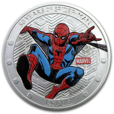 2013 Niue 1 Oz Silver 50 Years Of Spider Man Proof Gold