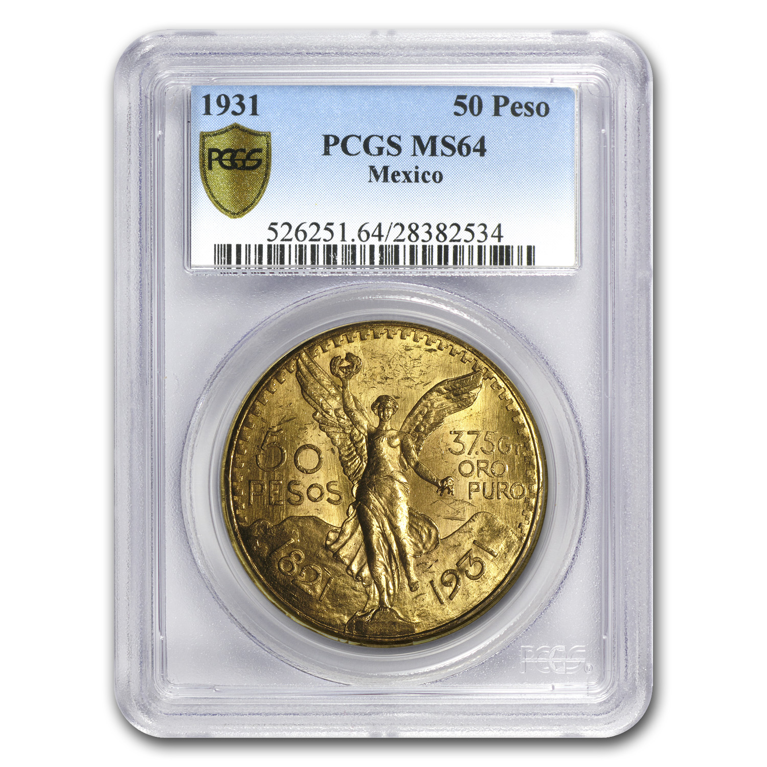 Mexico 1931 50 Pesos Gold Coin - MS-64 PCGS