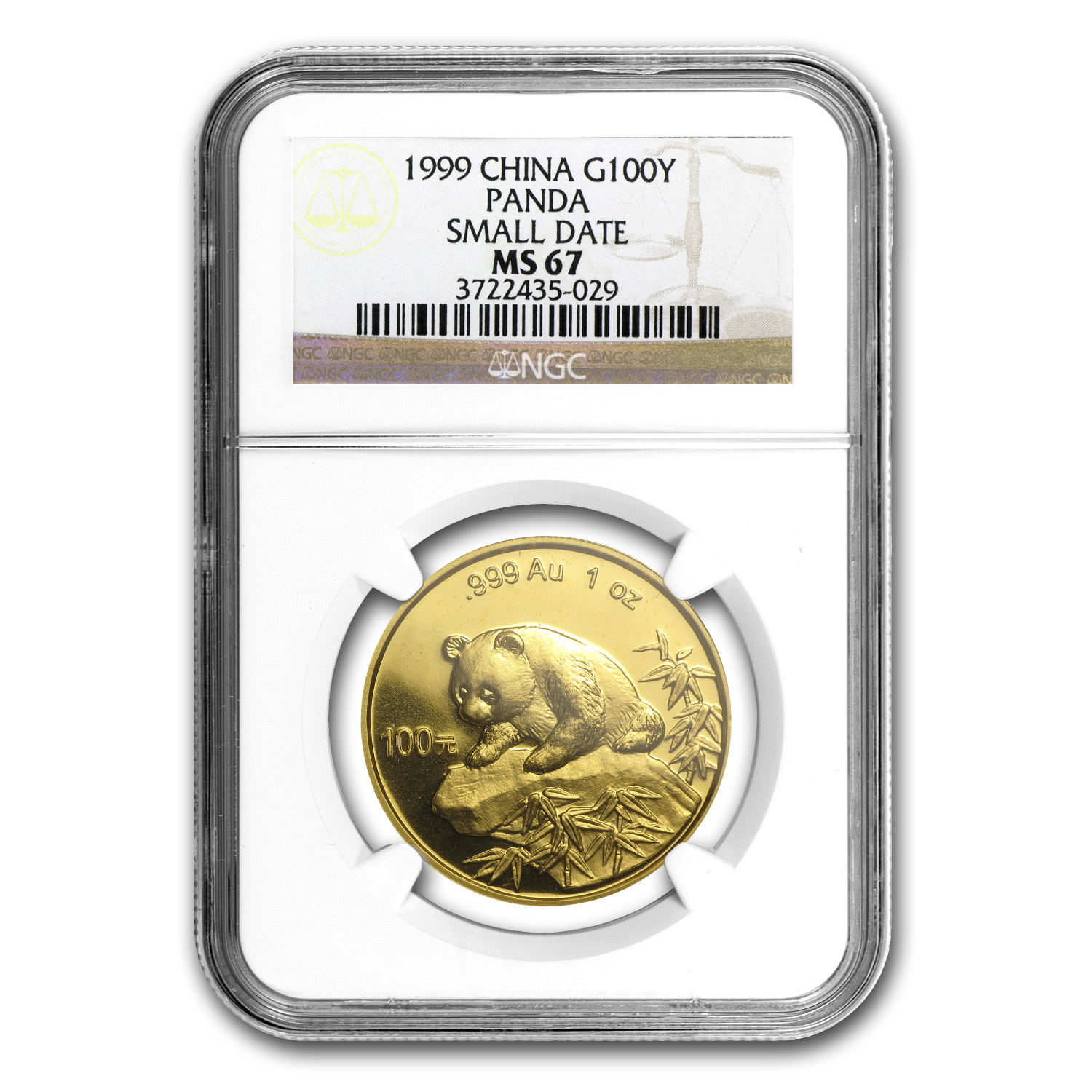 1999 China 1 oz Gold Panda Small Date MS-67 NGC