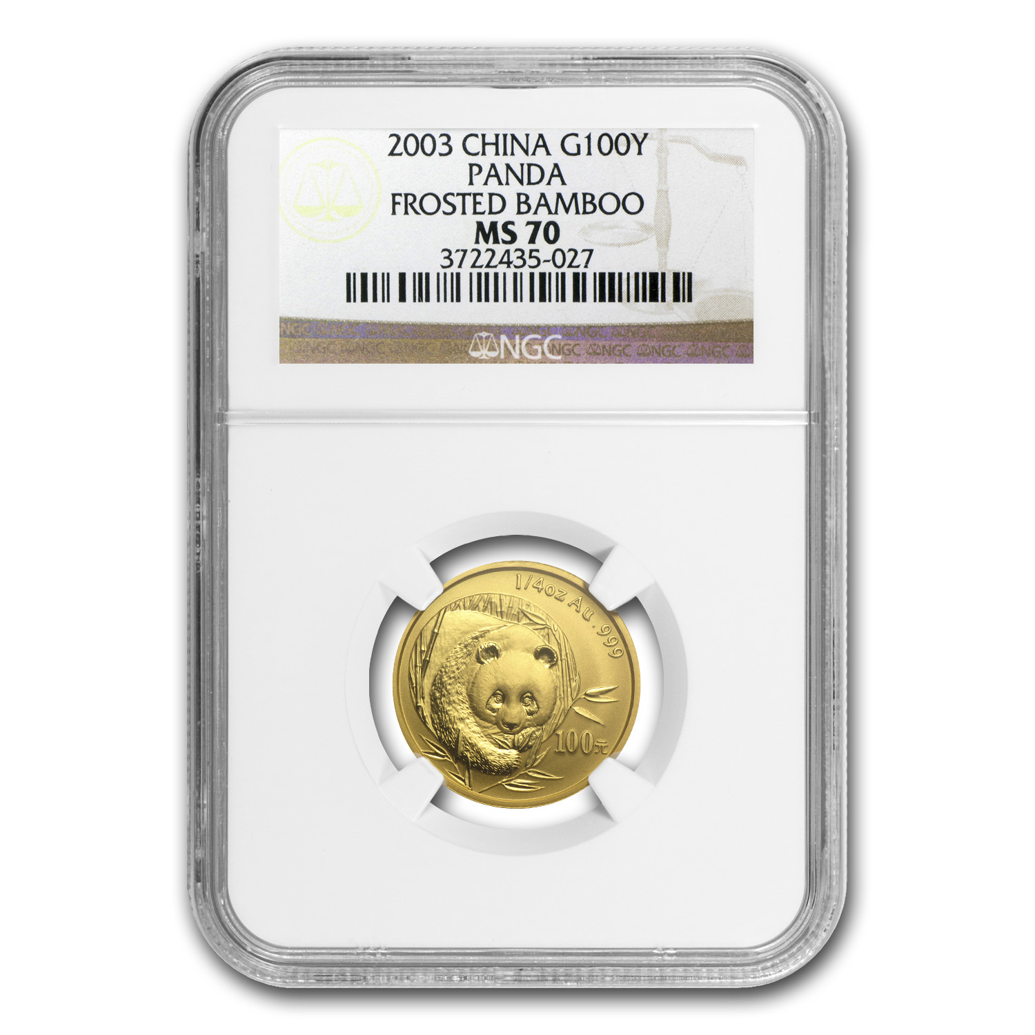 2003 China 1/4 oz Gold Panda Frosted Bamboo MS-70 NGC