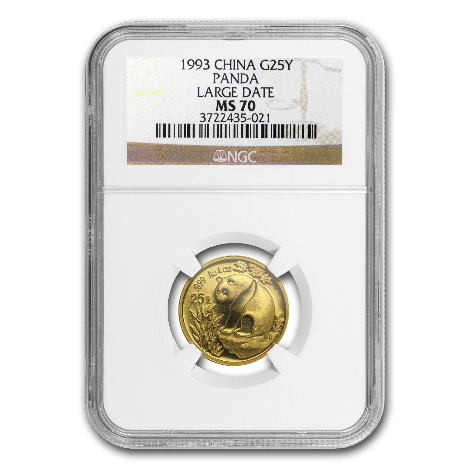 1993 (1/4 oz) Gold Chinese Panda - Large Date MS-70 NGC