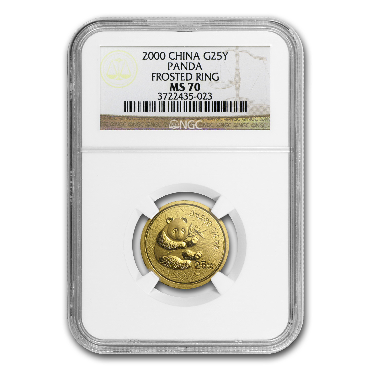 2000 China 1/4 oz Gold Panda Frosted MS-70 NGC