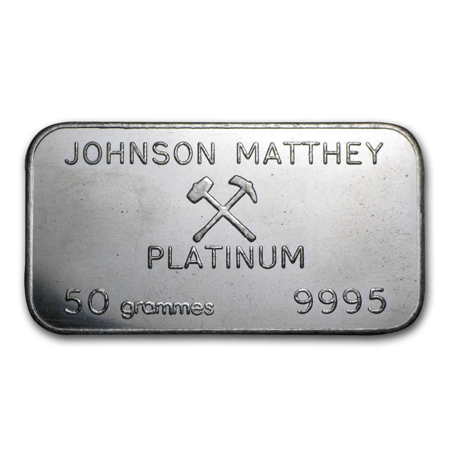 50 Gram Platinum Bar - Johnson Matthey London (.9995 Fine)