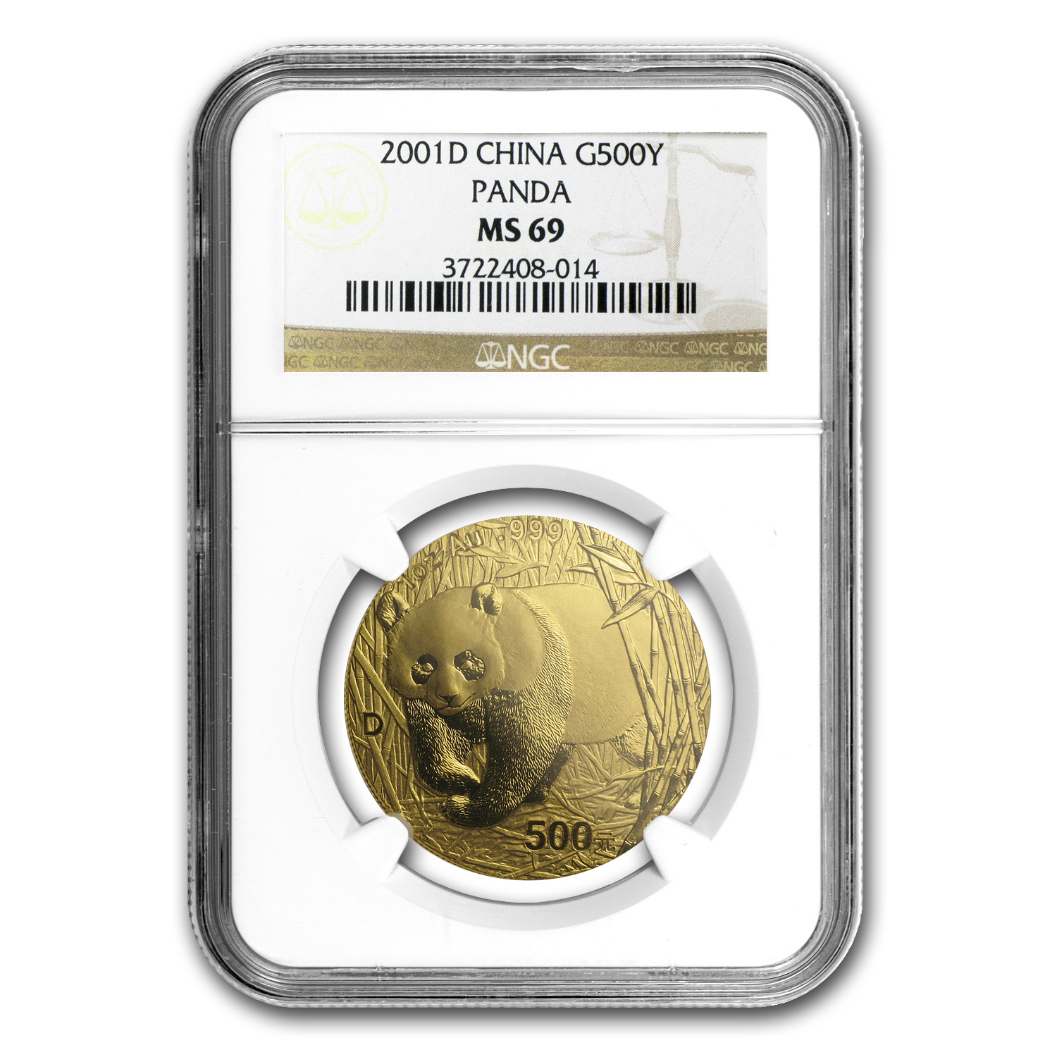 2001-D China 1 oz Gold Panda MS-69 NGC