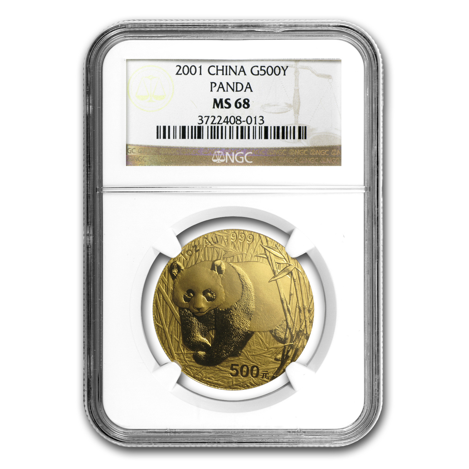 2001 1 oz Gold Chinese Panda MS-68 NGC