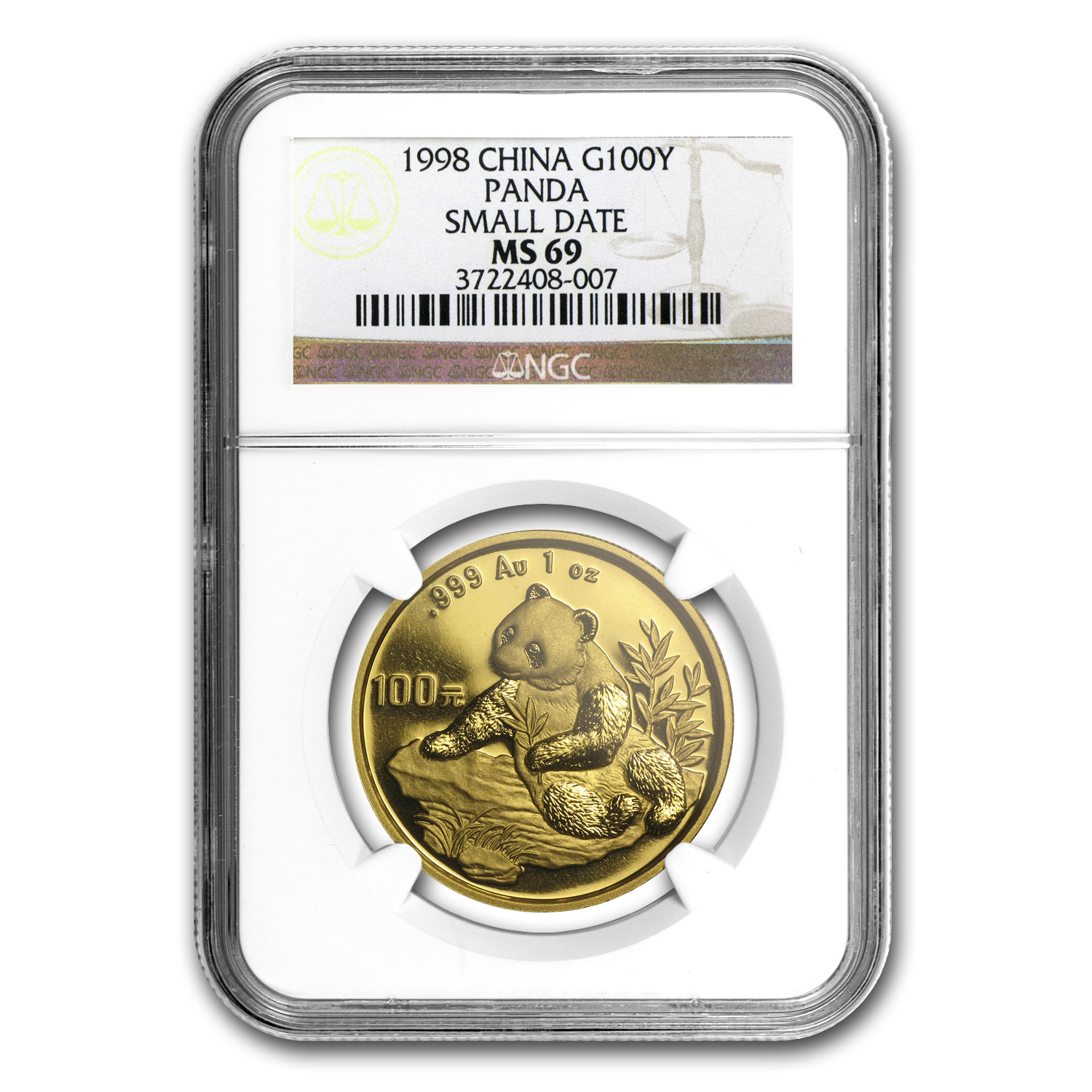 1998 China 1 oz Gold Panda Small Date MS-69 NGC