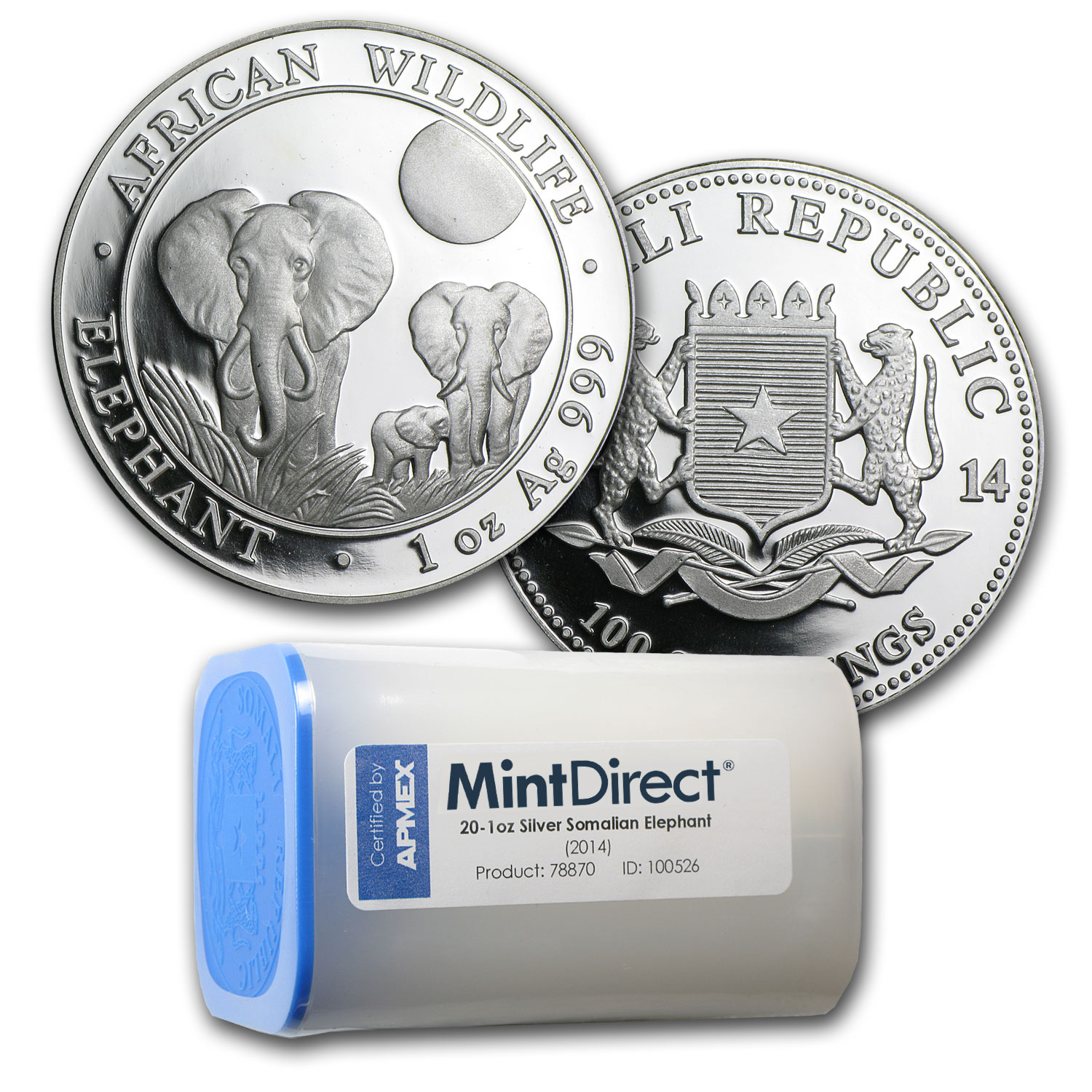 2014 Somalia 1 oz Silver Elephant (20-Coin MintDirect® Tube)