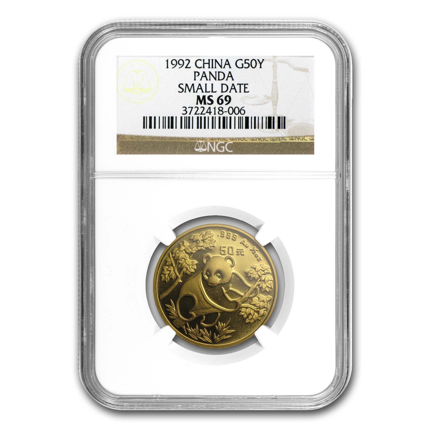 1992 China 1/2 oz Gold Panda Small Date MS-69 NGC