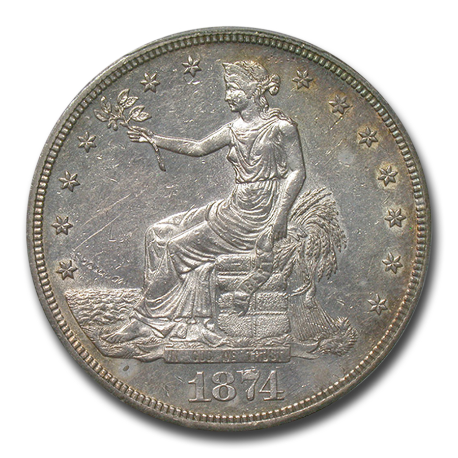 1874-CC Trade Dollar Almost Uncirculated-53 PCGS
