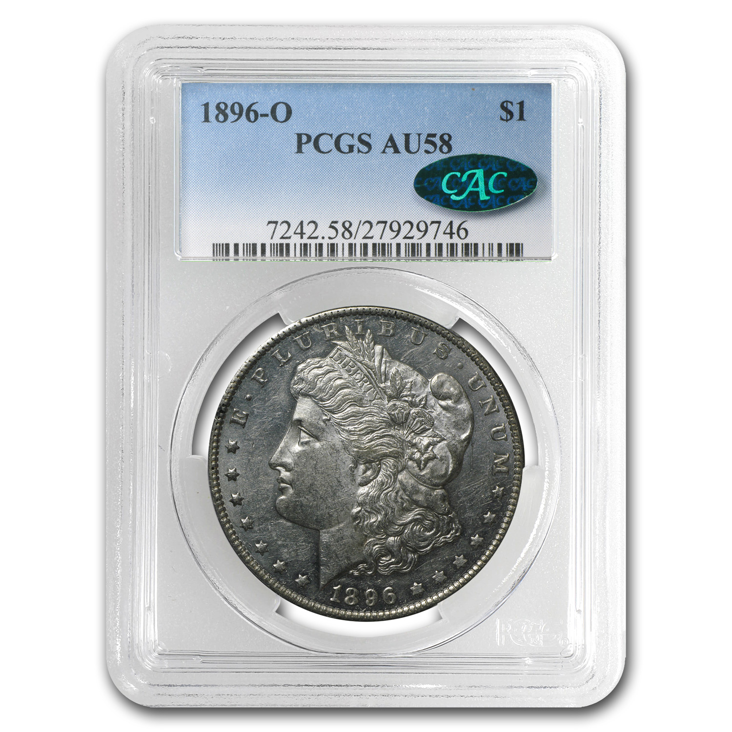 1896-O Morgan Dollar Almost Uncirculated-58 PCGS - CAC